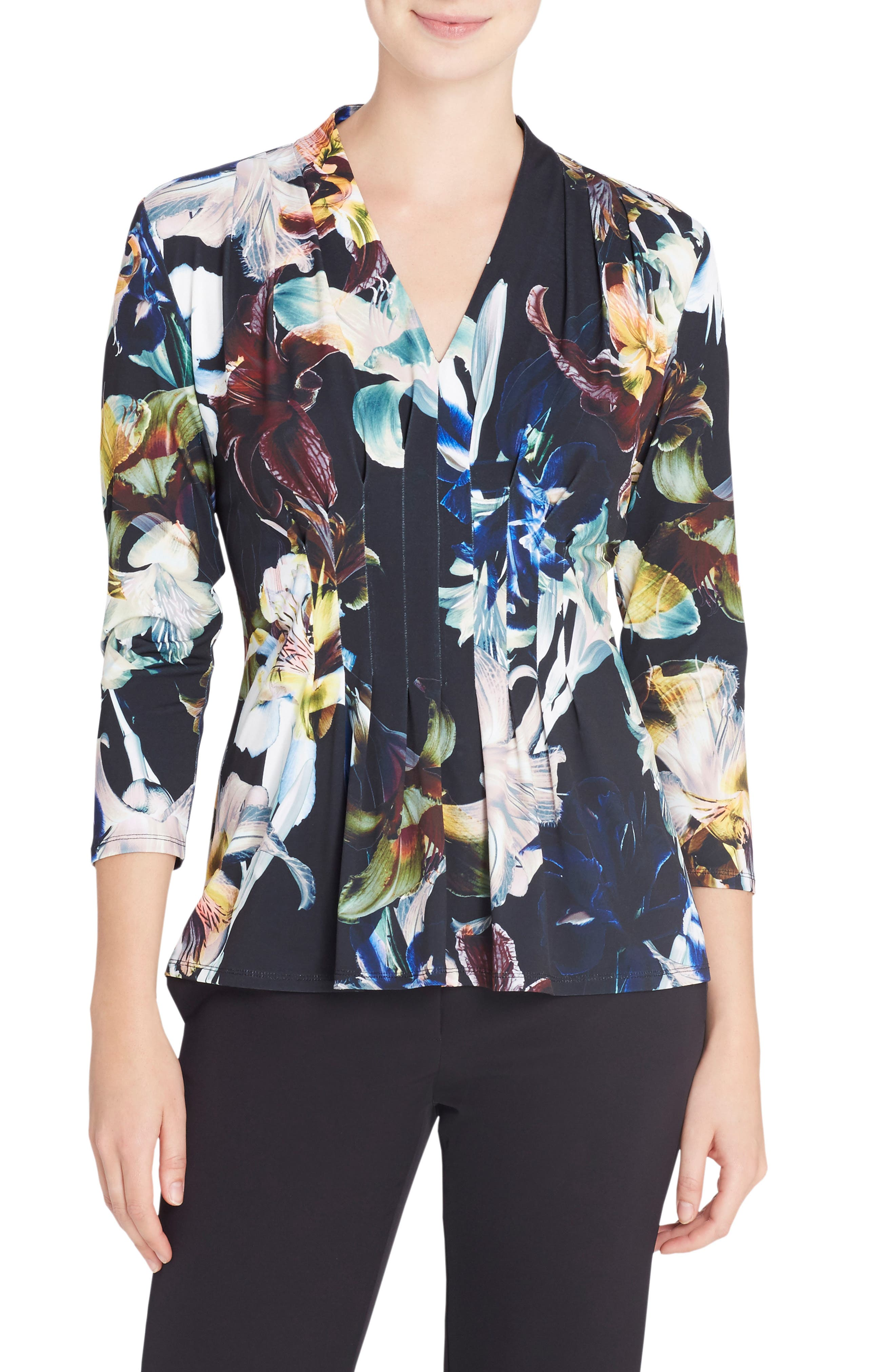 'Rea' V-Neck Print Top,                             Main thumbnail 1, color,                             Dark Lily
