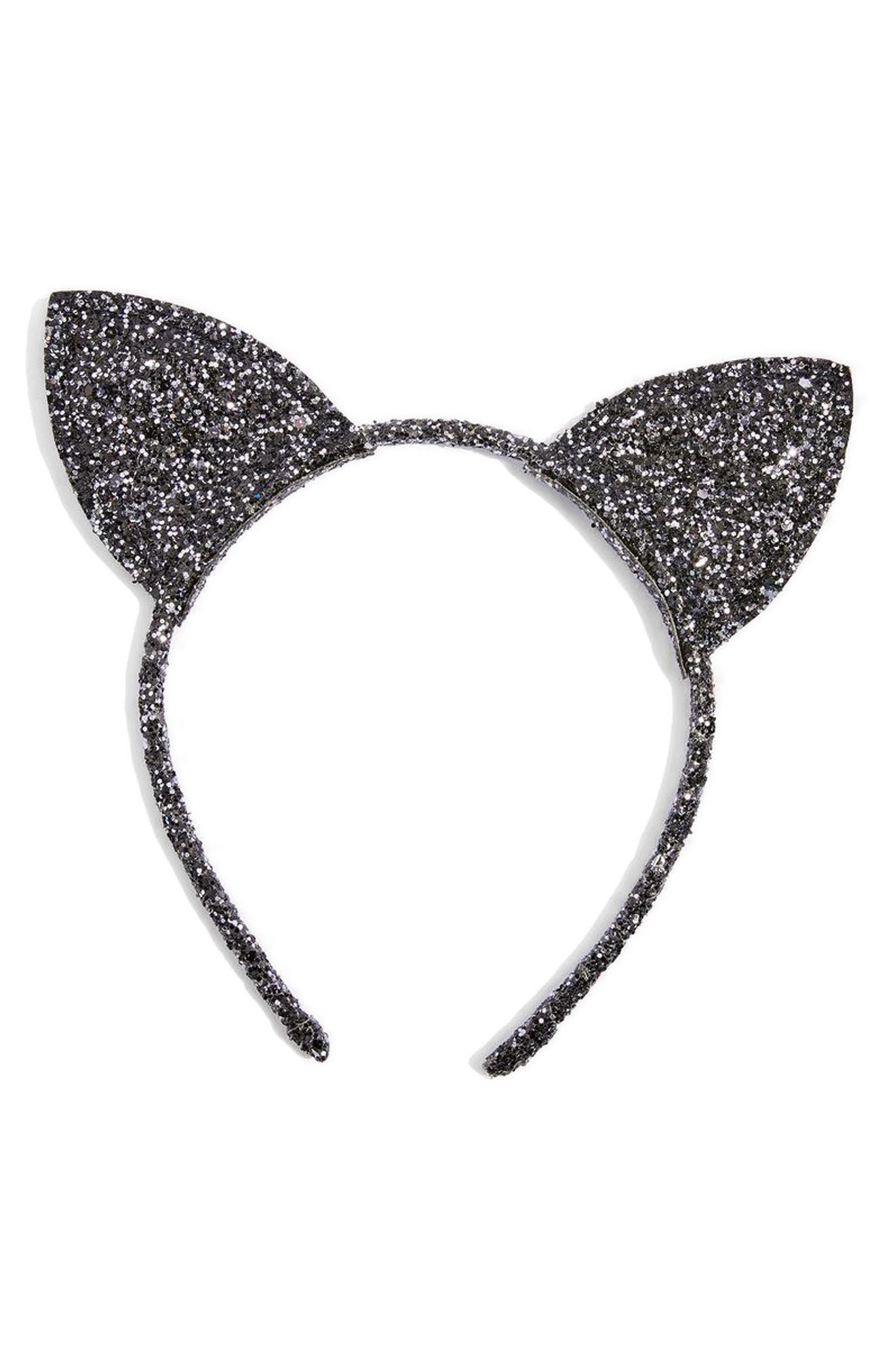 Glitter Cat Ears Headband,                         Main,                         color, Black