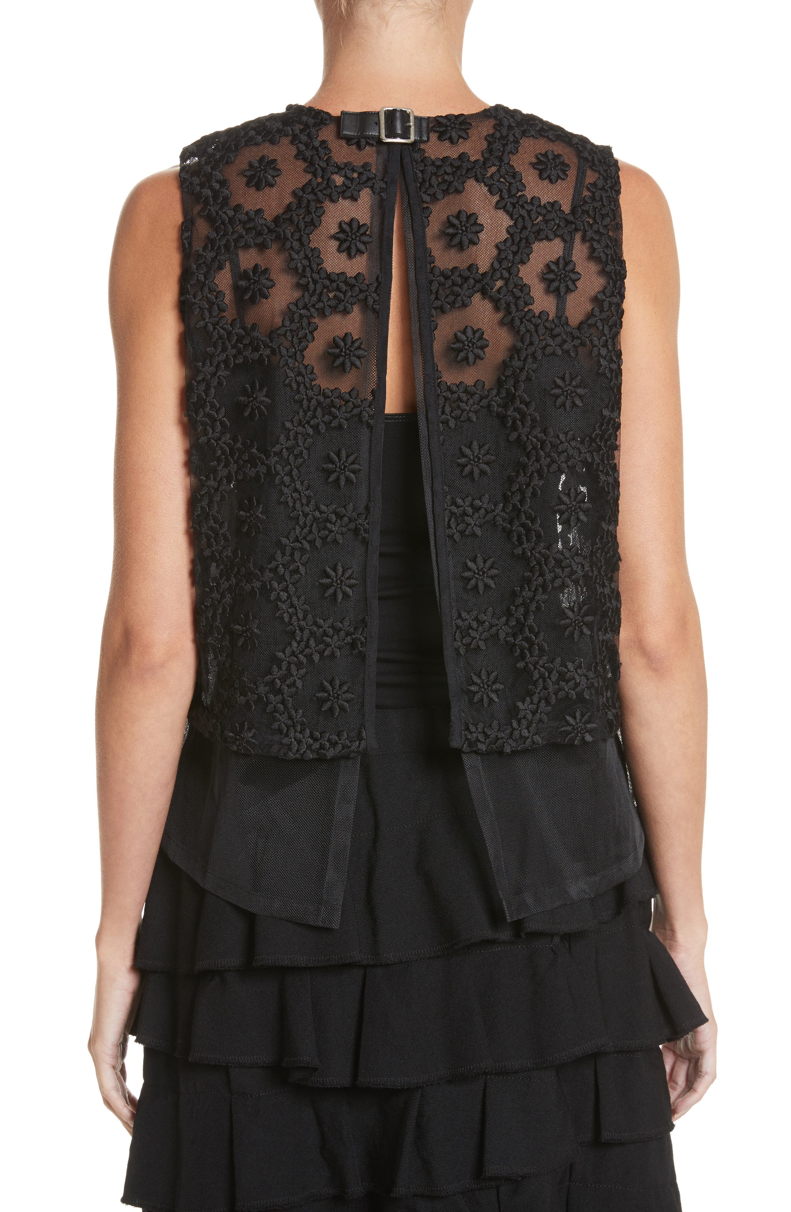Floral Embroidered Tulle Top,                             Alternate thumbnail 2, color,                             Black