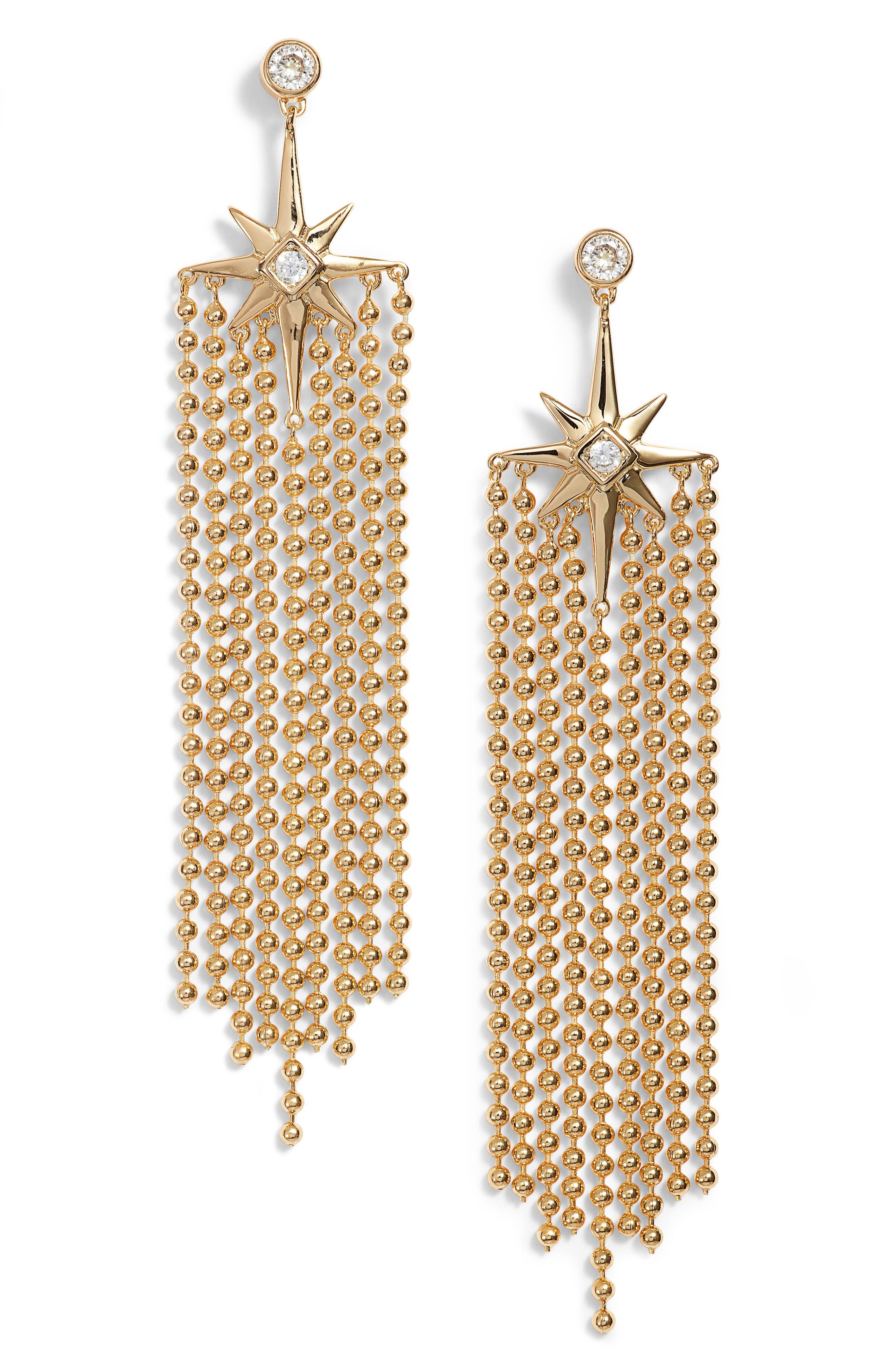Elysian Fringe Earrings,                         Main,                         color, Gold/ Clear
