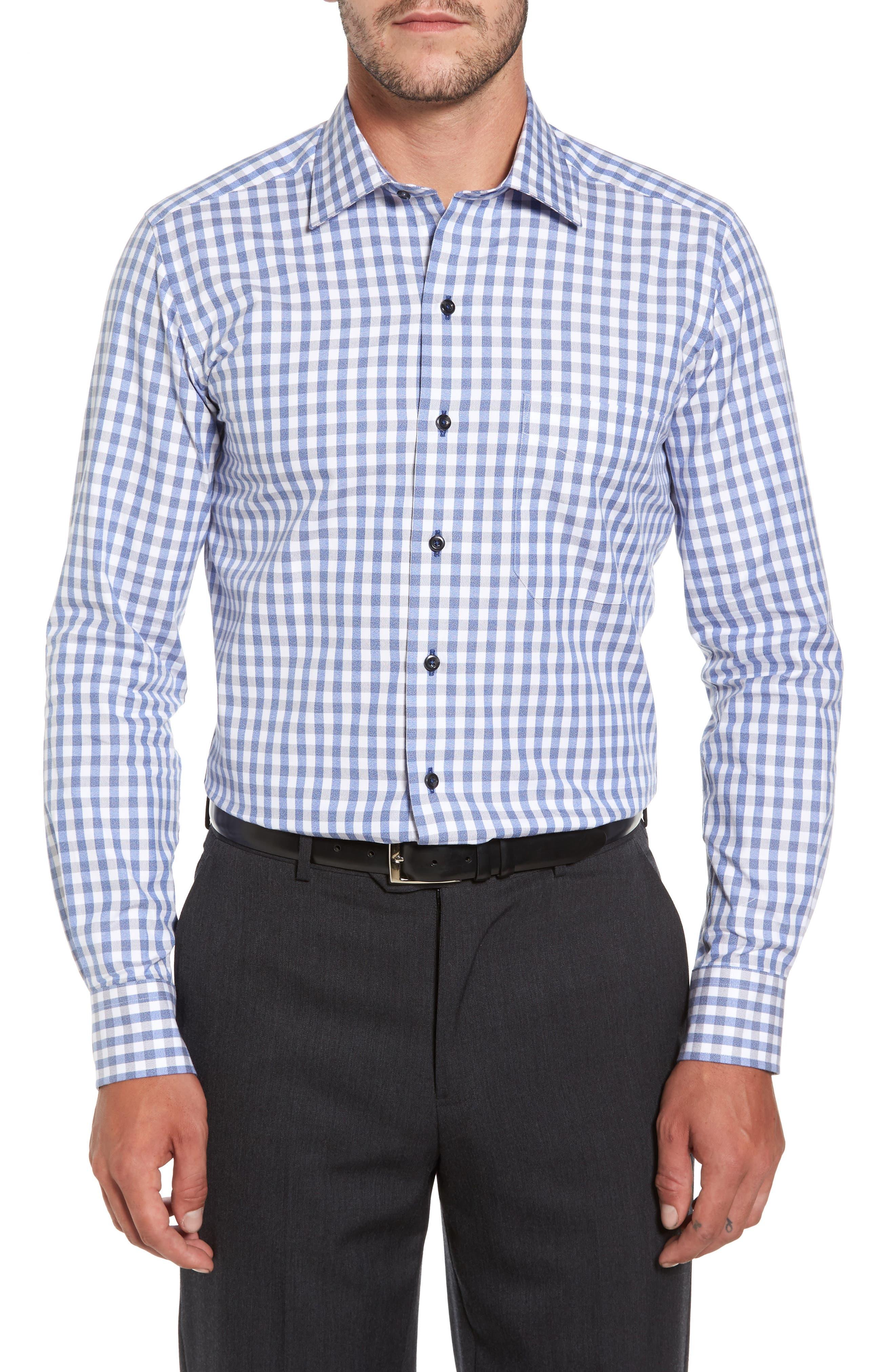 Gingham Sport Shirt,                         Main,                         color, Blue