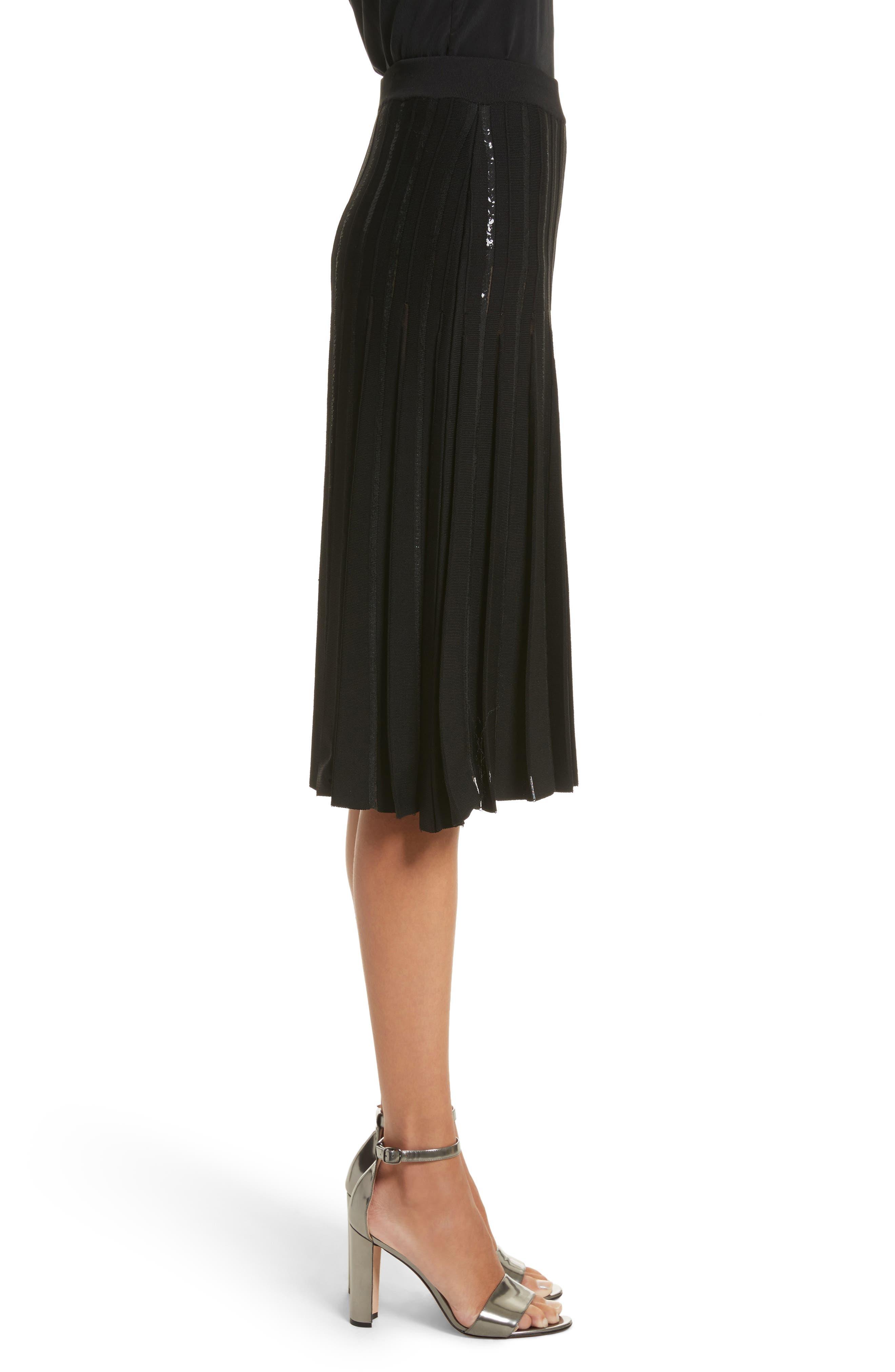 Pleated Sequin Flare Skirt,                             Alternate thumbnail 4, color,                             Black