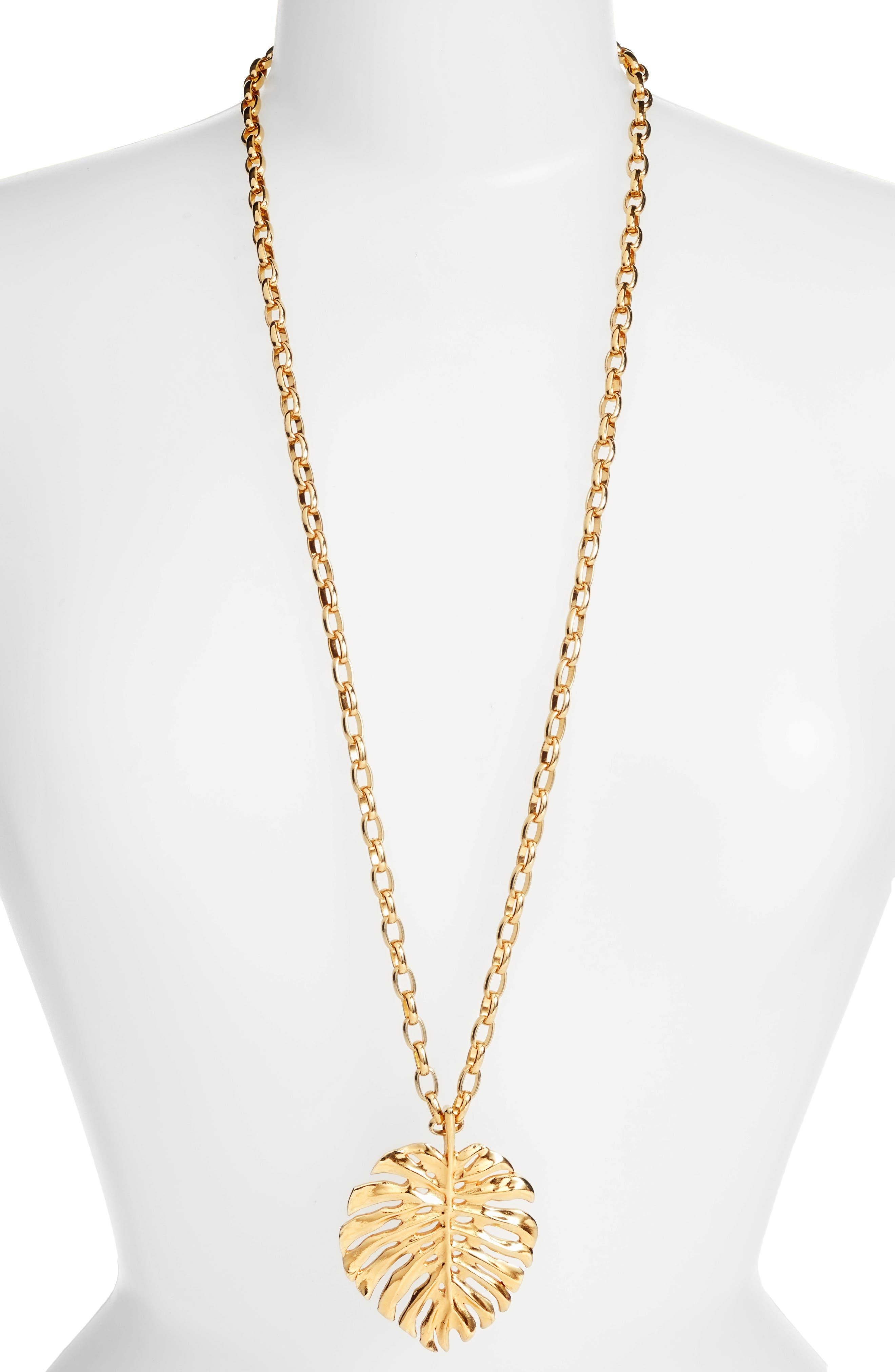 Oscar de la Renta Monstera Leaf Pendant Necklace