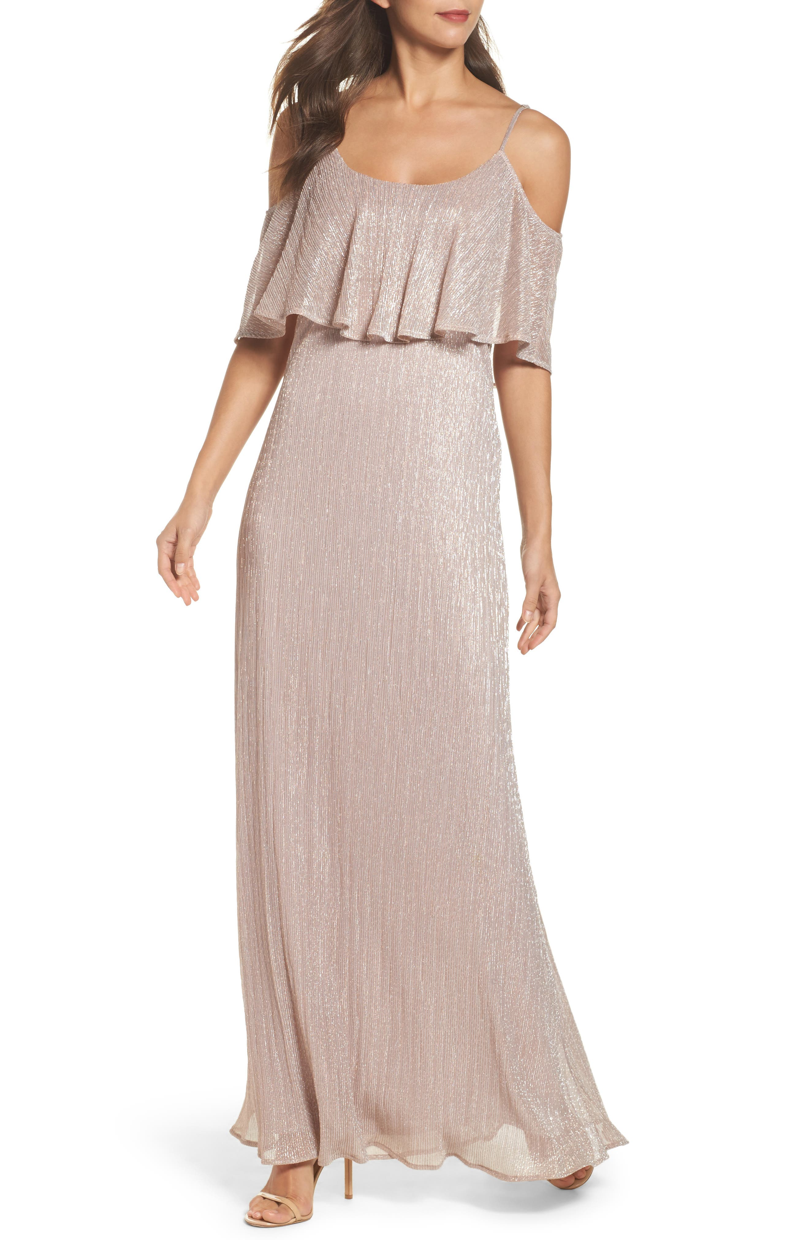 Caitlin Ruffle Maxi Dress,                         Main,                         color, Magic Muave Glitter