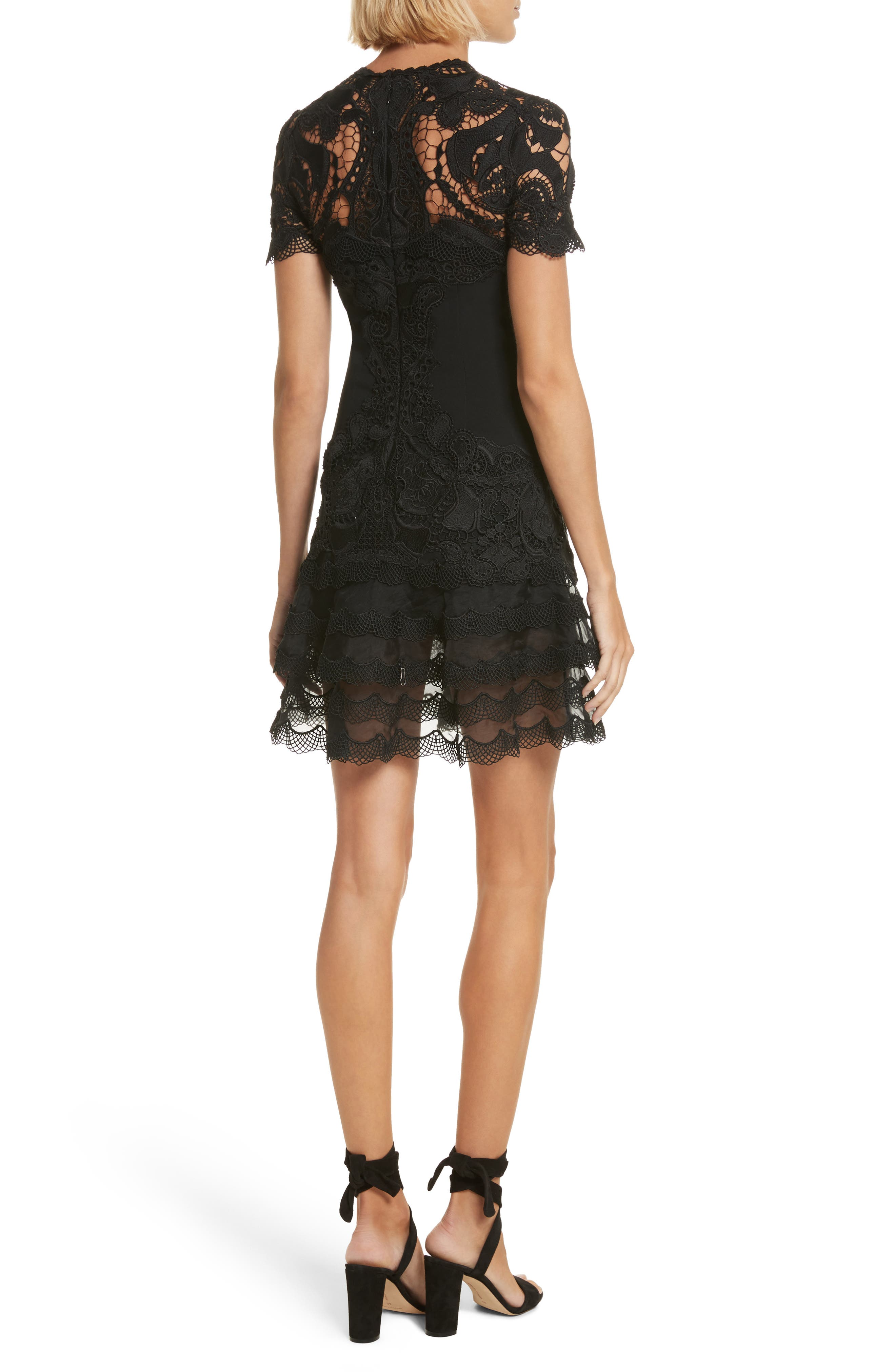 Lace Appliqué Crepe Mini Tee Dress,                             Alternate thumbnail 2, color,                             Black