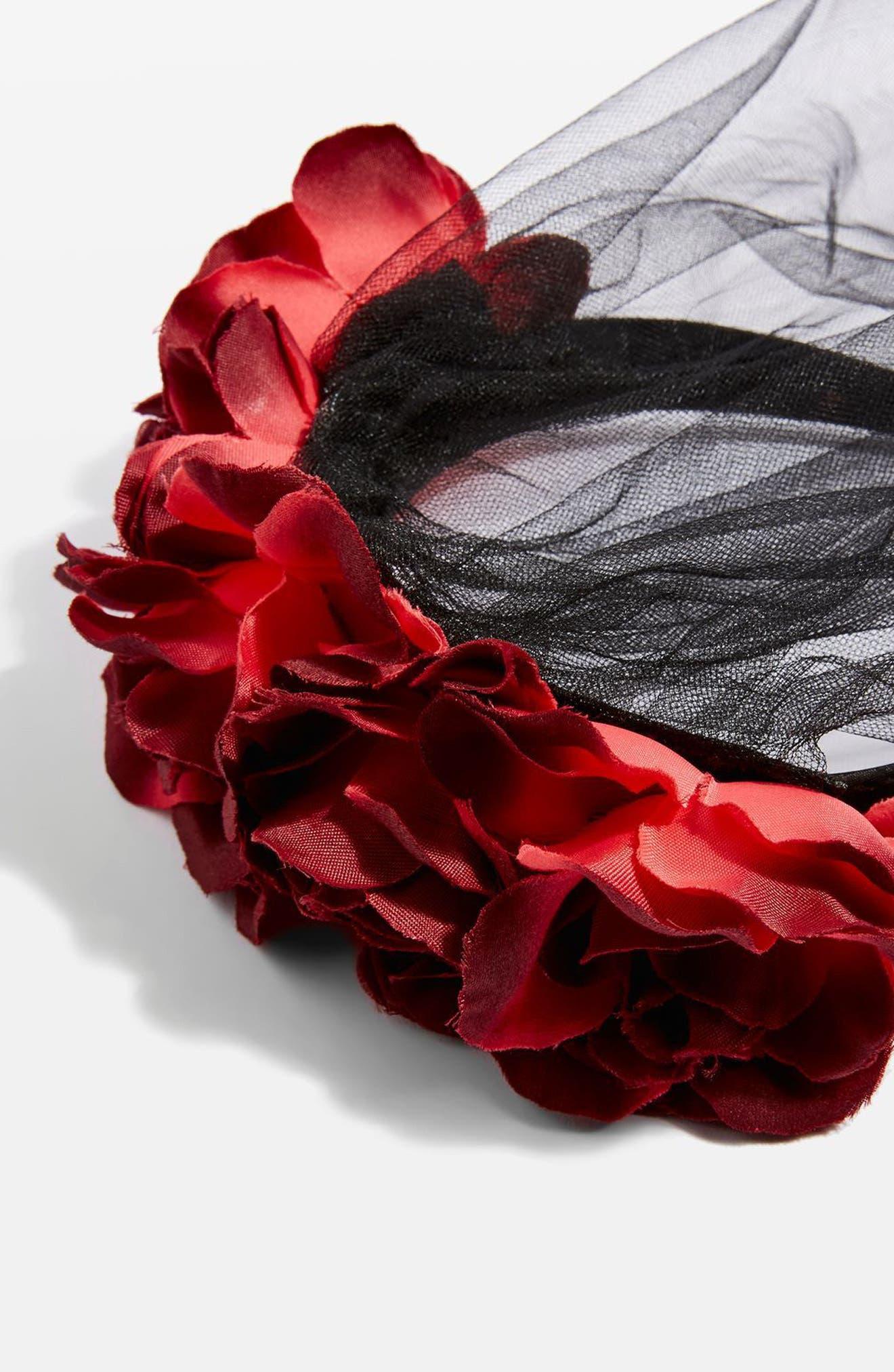 Halloween Flower Veil Headband,                             Alternate thumbnail 2, color,                             Black