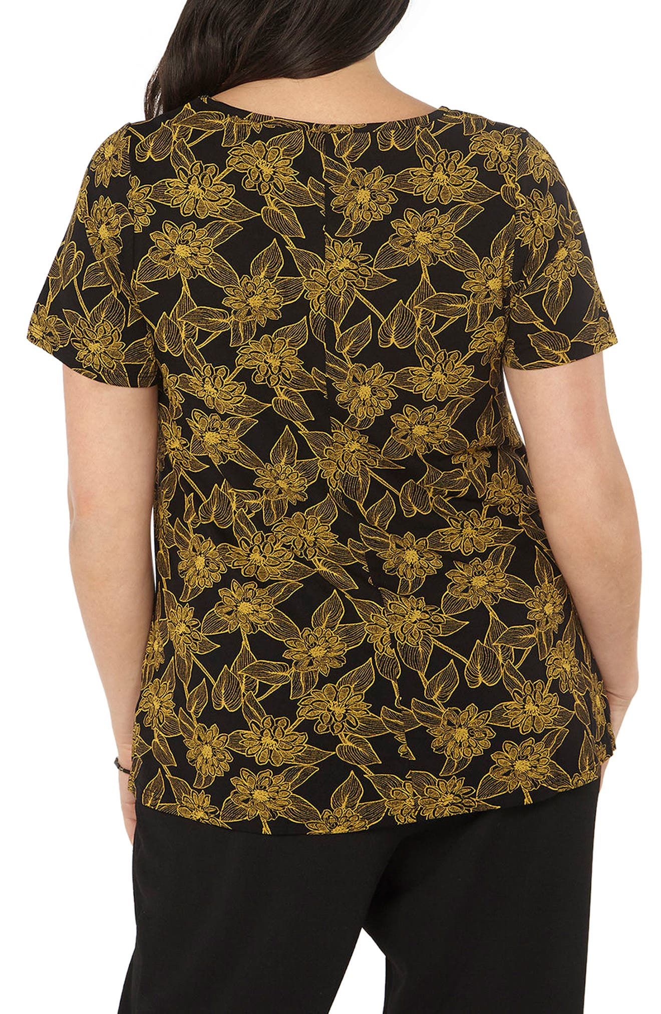 Floral Print Top,                             Alternate thumbnail 2, color,                             Yellow