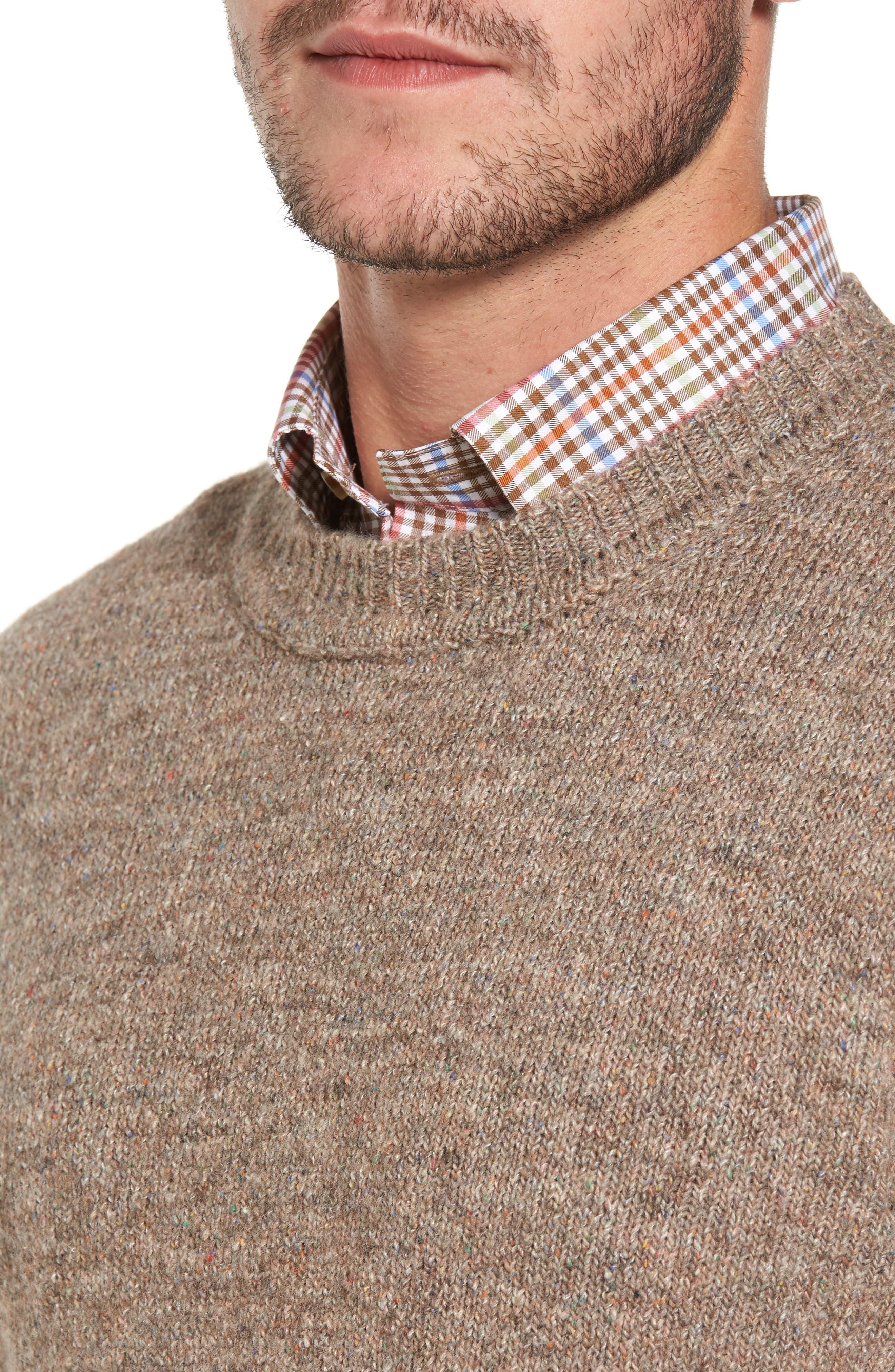 Tweed Crewneck Sweater,                             Alternate thumbnail 4, color,                             Sand