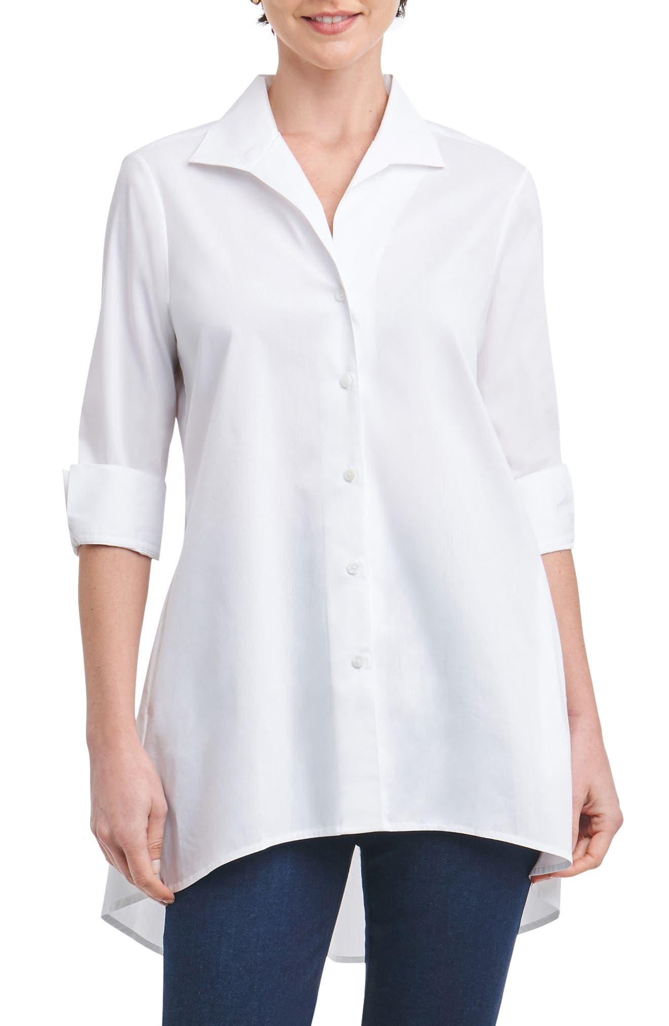 Main Image - Foxcroft Lucy Stretch Tunic Shirt