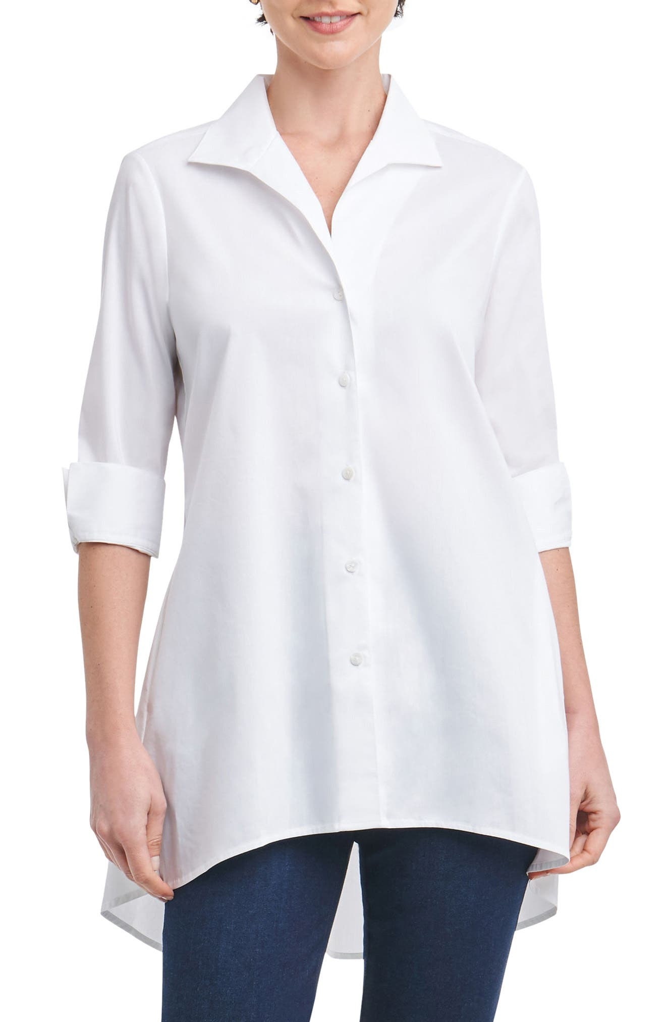 Lucy Stretch Tunic Shirt,                         Main,                         color, White