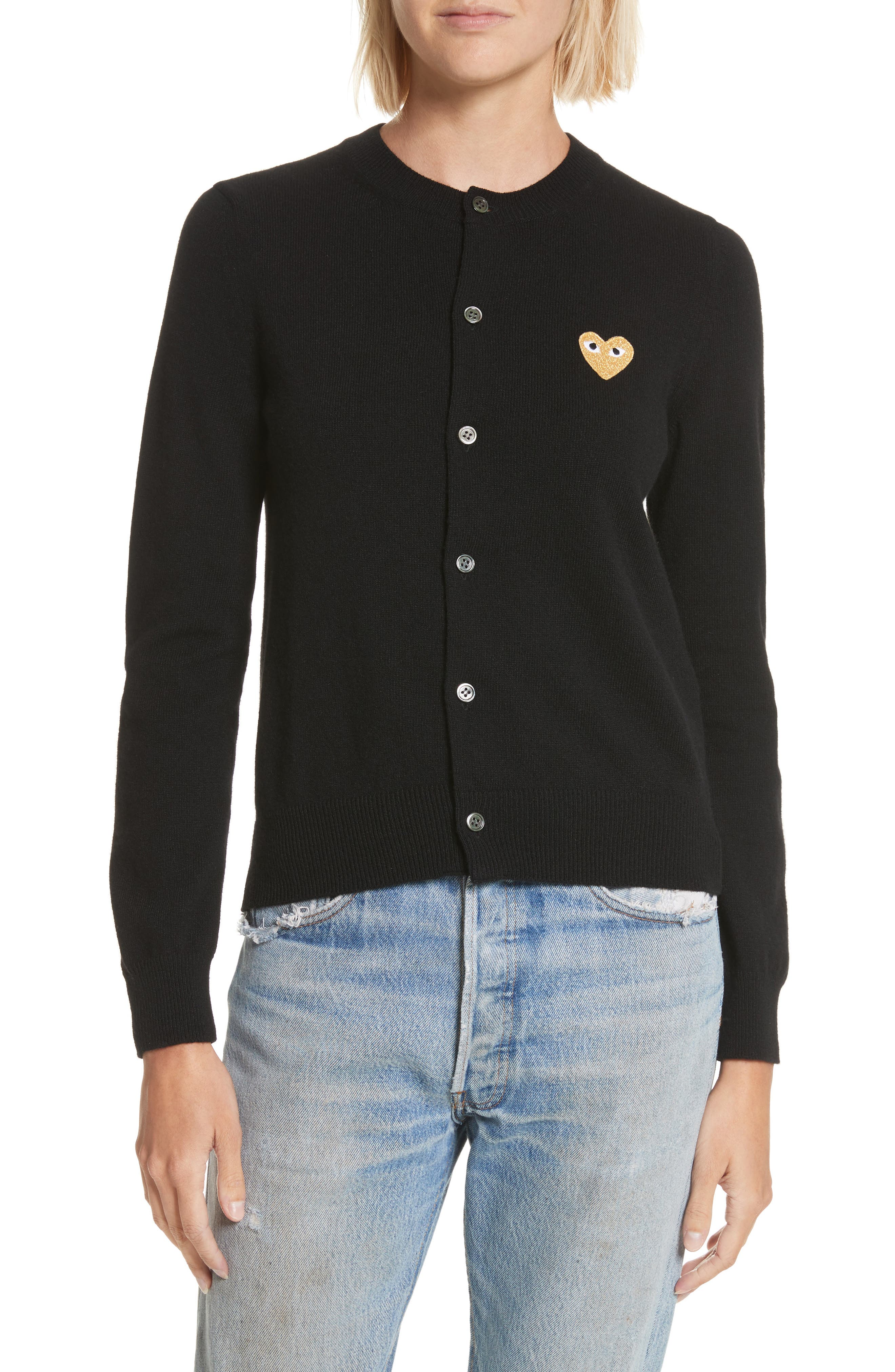 PLAY Gold Heart Patch Wool Cardigan,                             Main thumbnail 1, color,                             Black