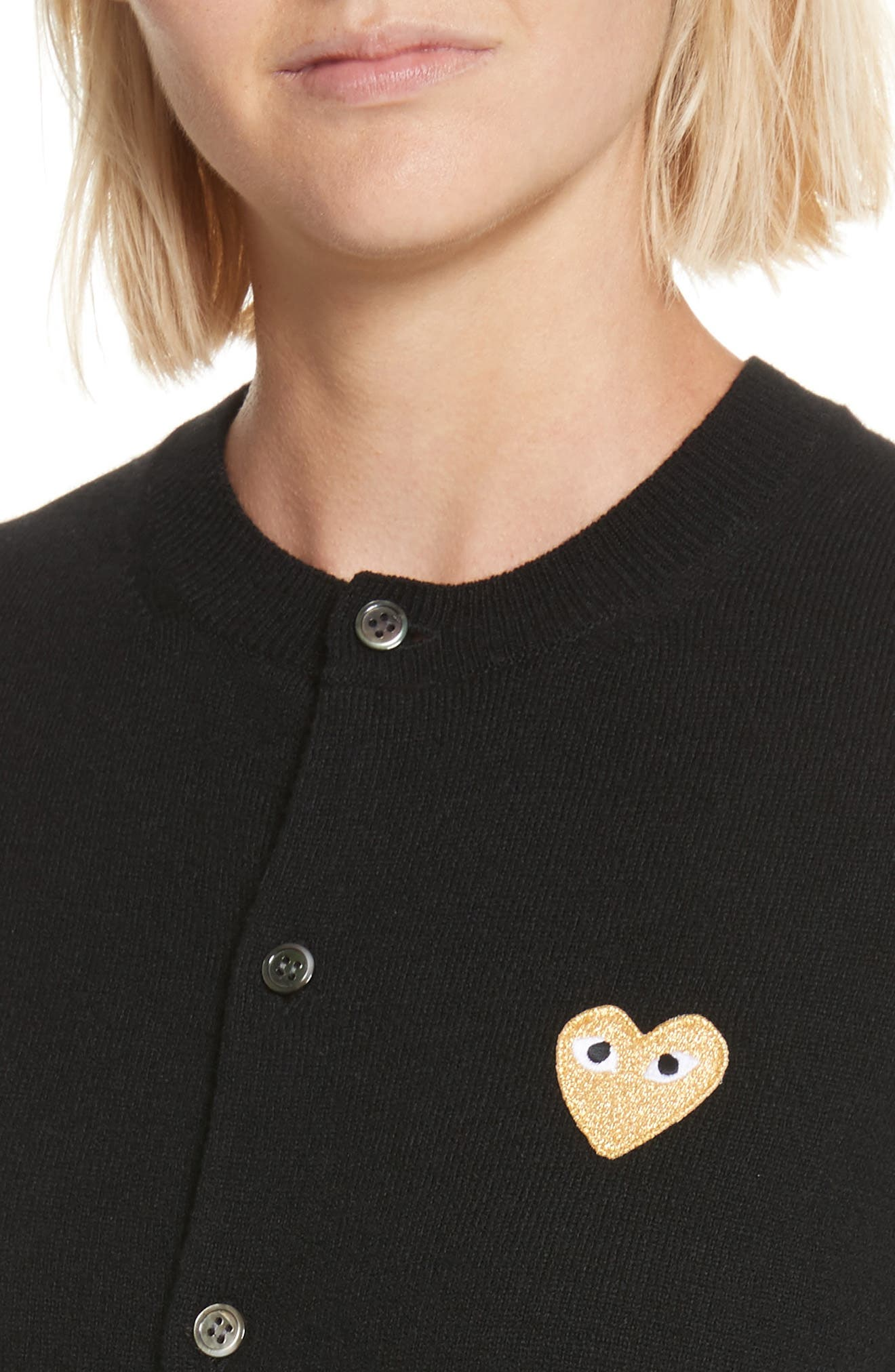 PLAY Gold Heart Patch Wool Cardigan,                             Alternate thumbnail 4, color,                             Black