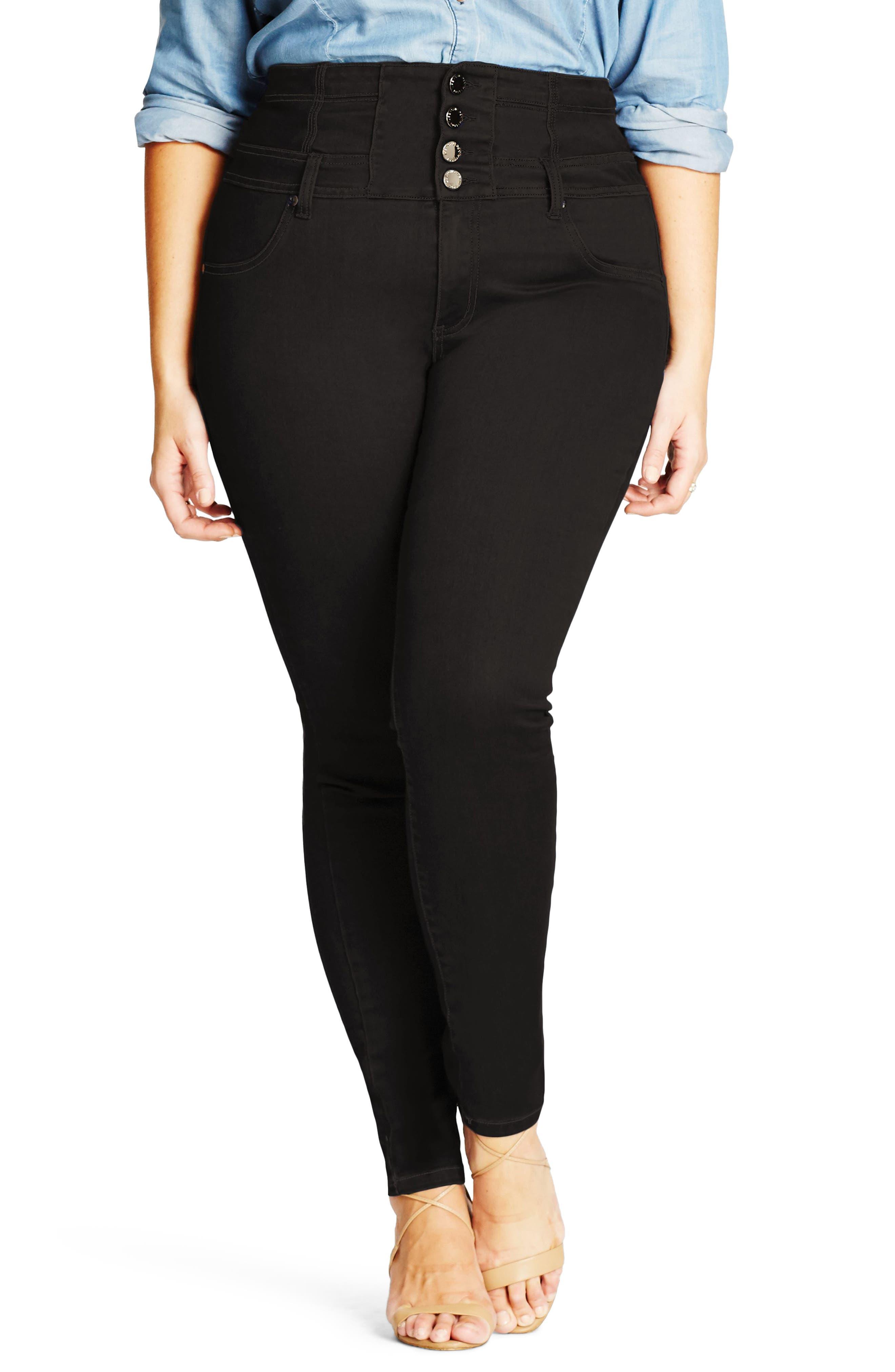 Harley Corset Skinny Jeans,                         Main,                         color, Black