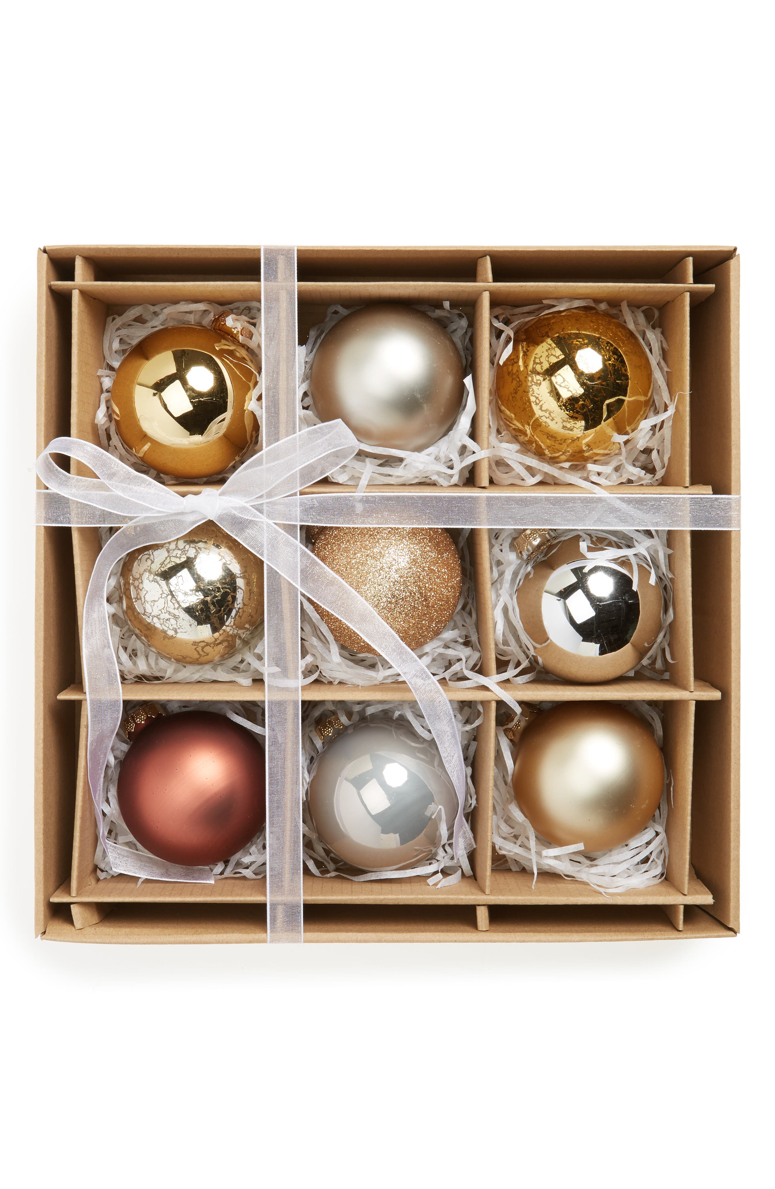 Kat & Annie Set of 9 Assorted Ball Ornaments,                         Main,                         color, Gold