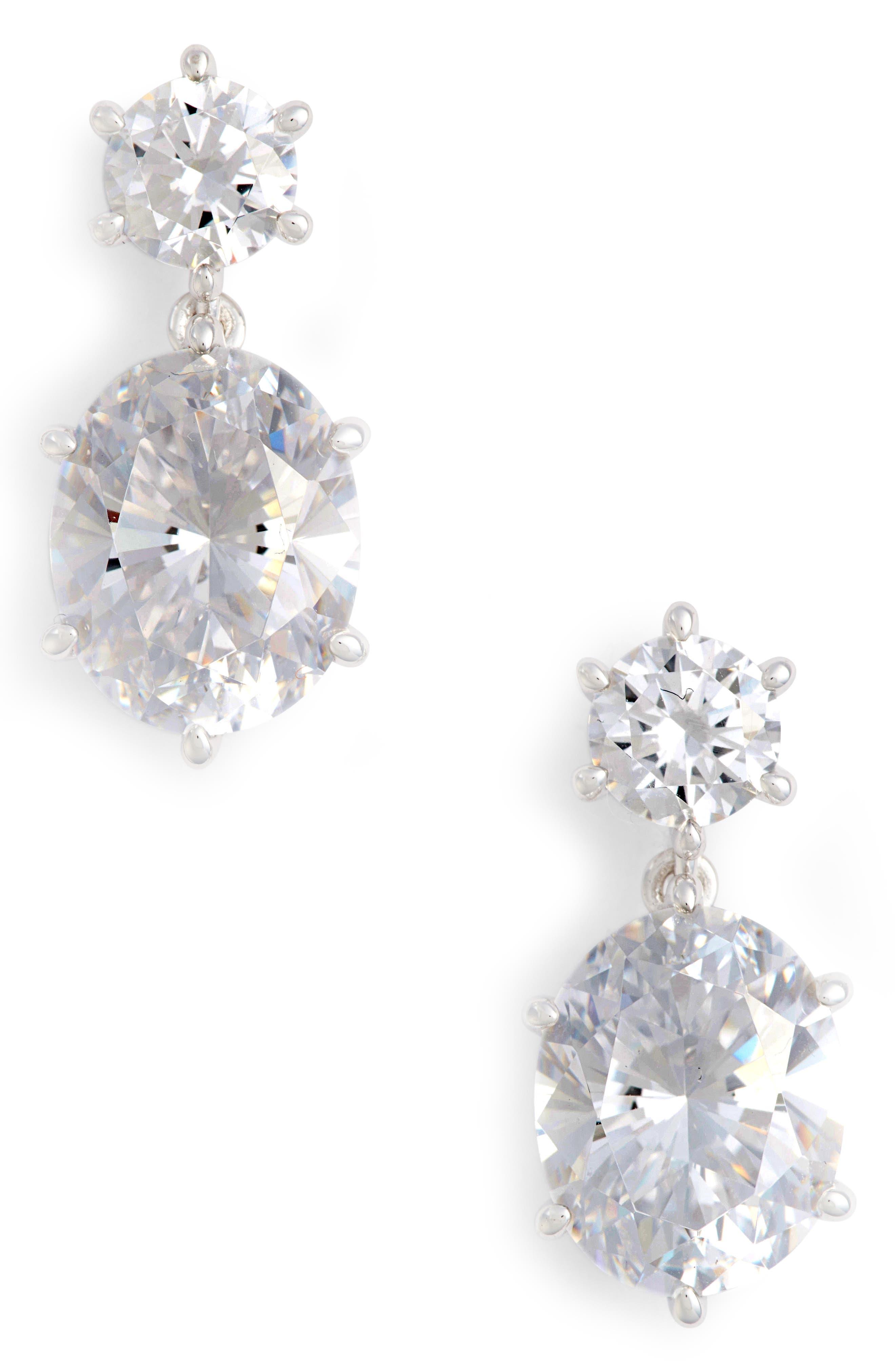 Royale Cubic Zirconia Drop Earrings,                         Main,                         color, Silver