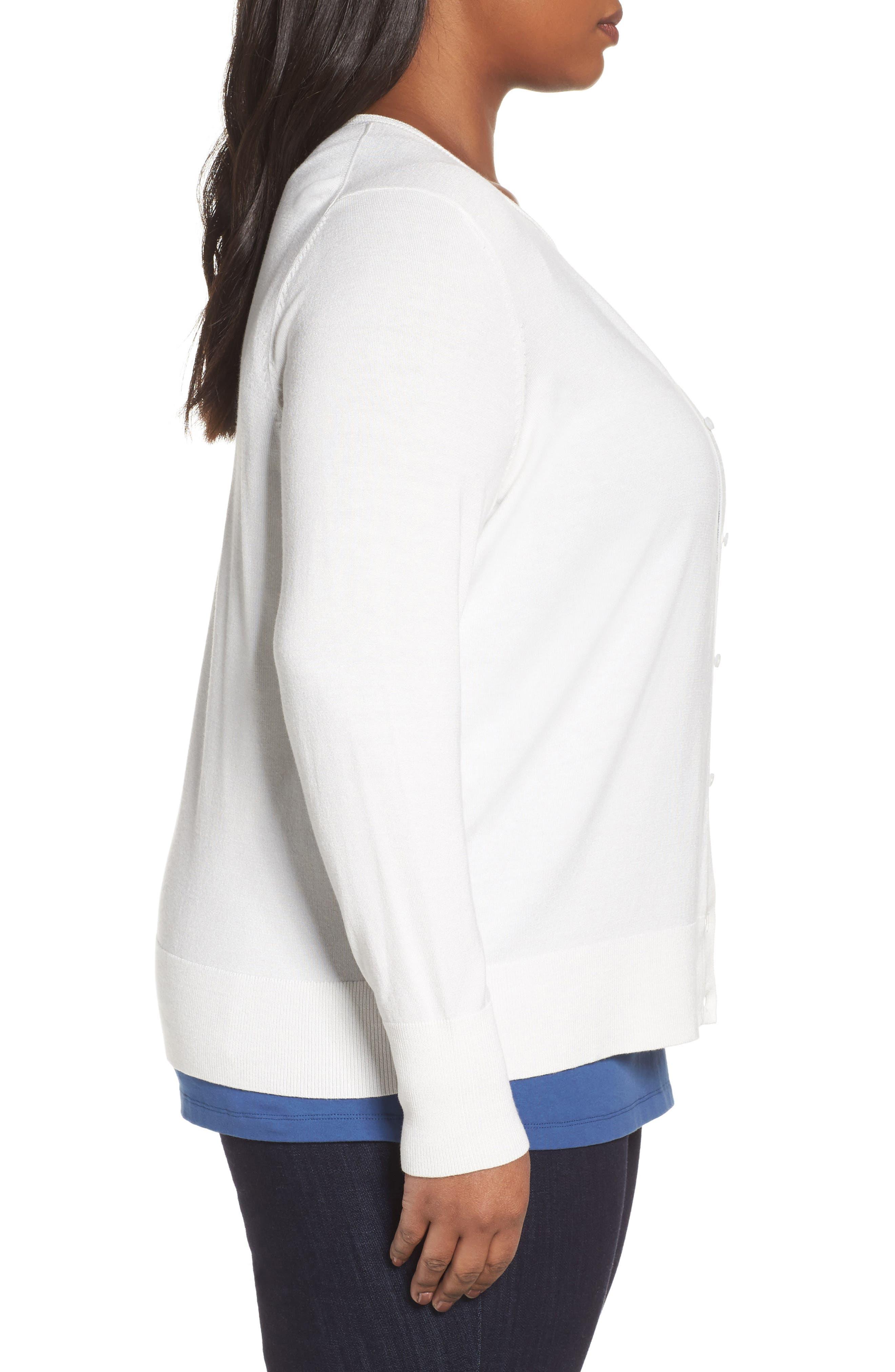 Alternate Image 3  - Sejour Button Front Cardigan (Plus Size)