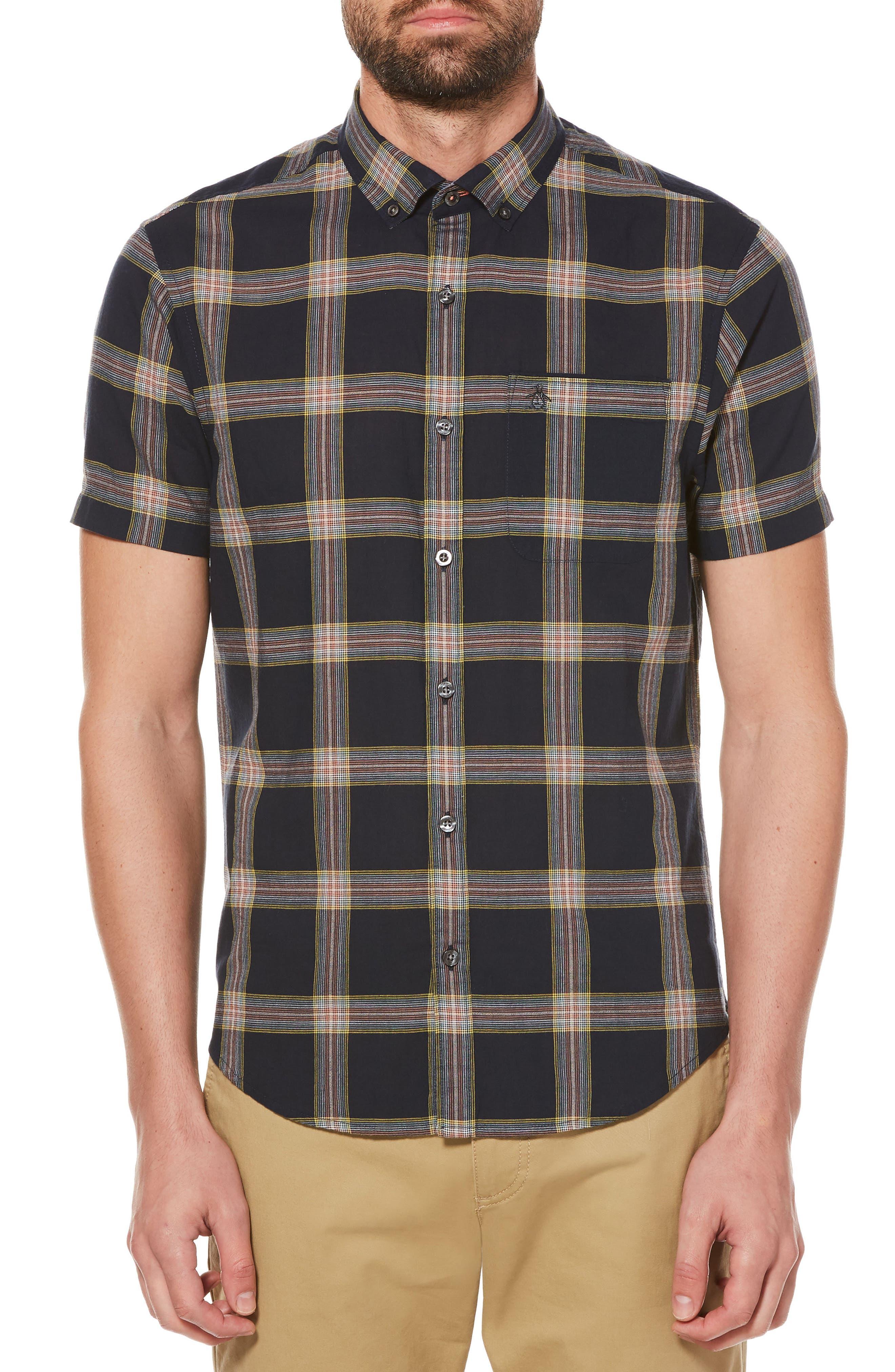 Textured Lawn Plaid Shirt,                             Main thumbnail 1, color,                             Dark Sapphire