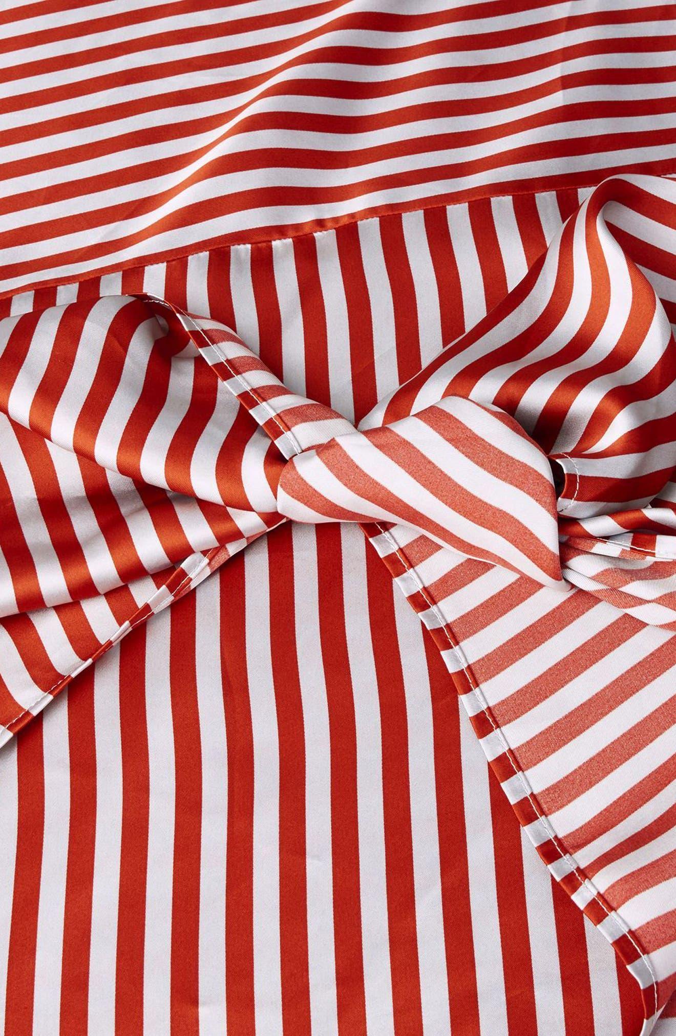 Stripe Knot Midi Skirt,                             Alternate thumbnail 3, color,                             Red Multi