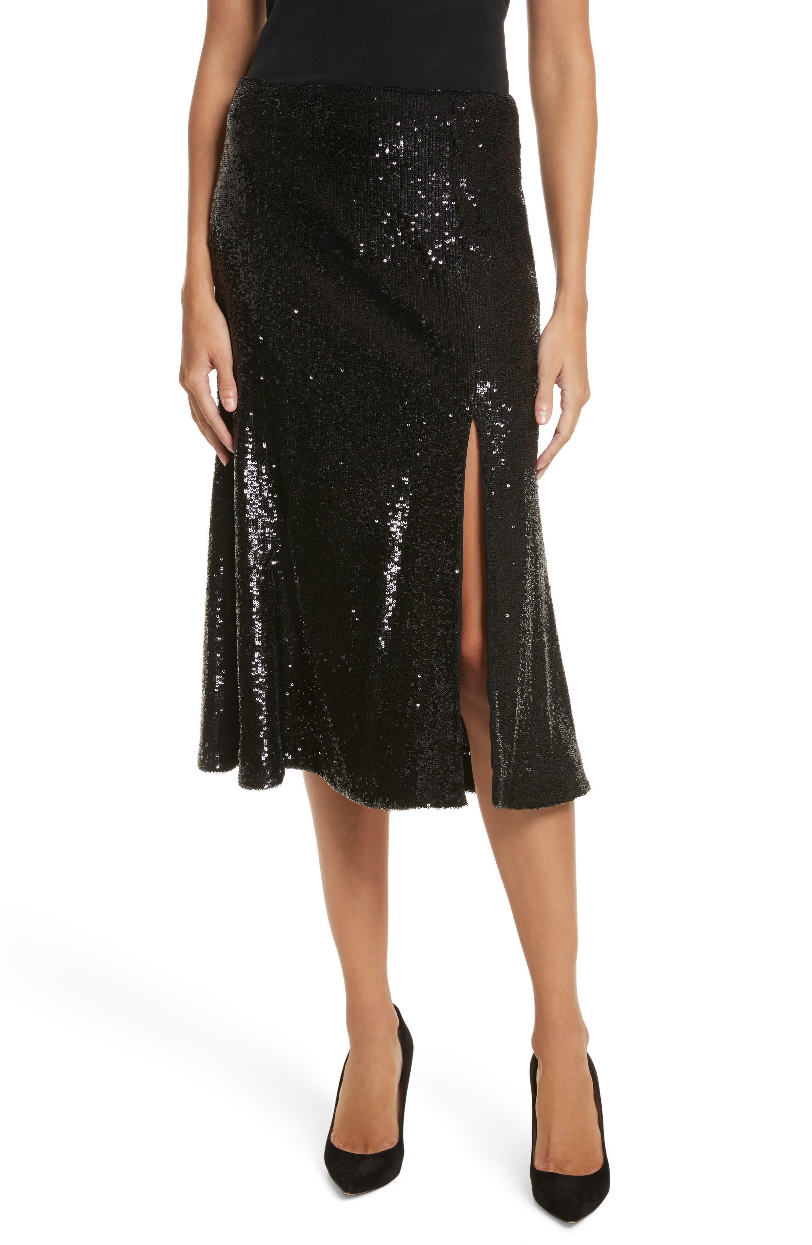 Braxton Sequin Skirt,                         Main,                         color, Black