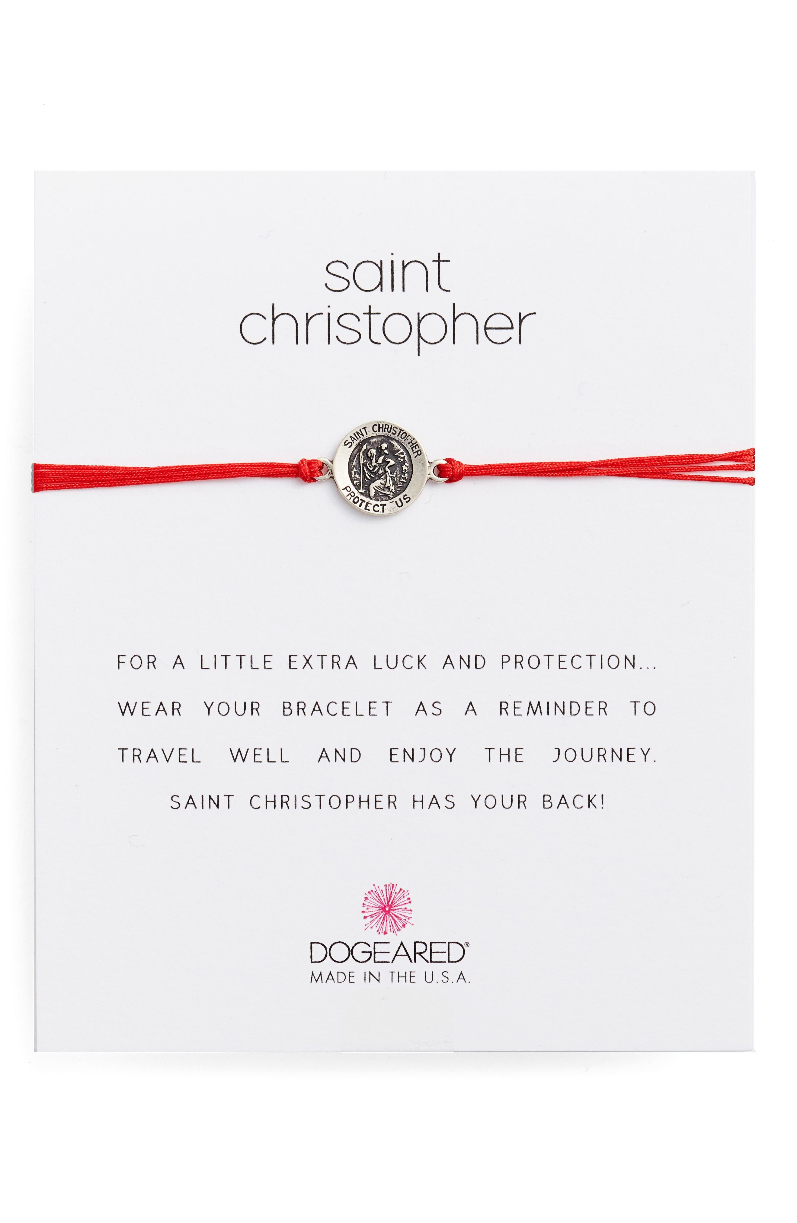 Saint Christopher Pull Bracelet,                         Main,                         color, Red/ Silver