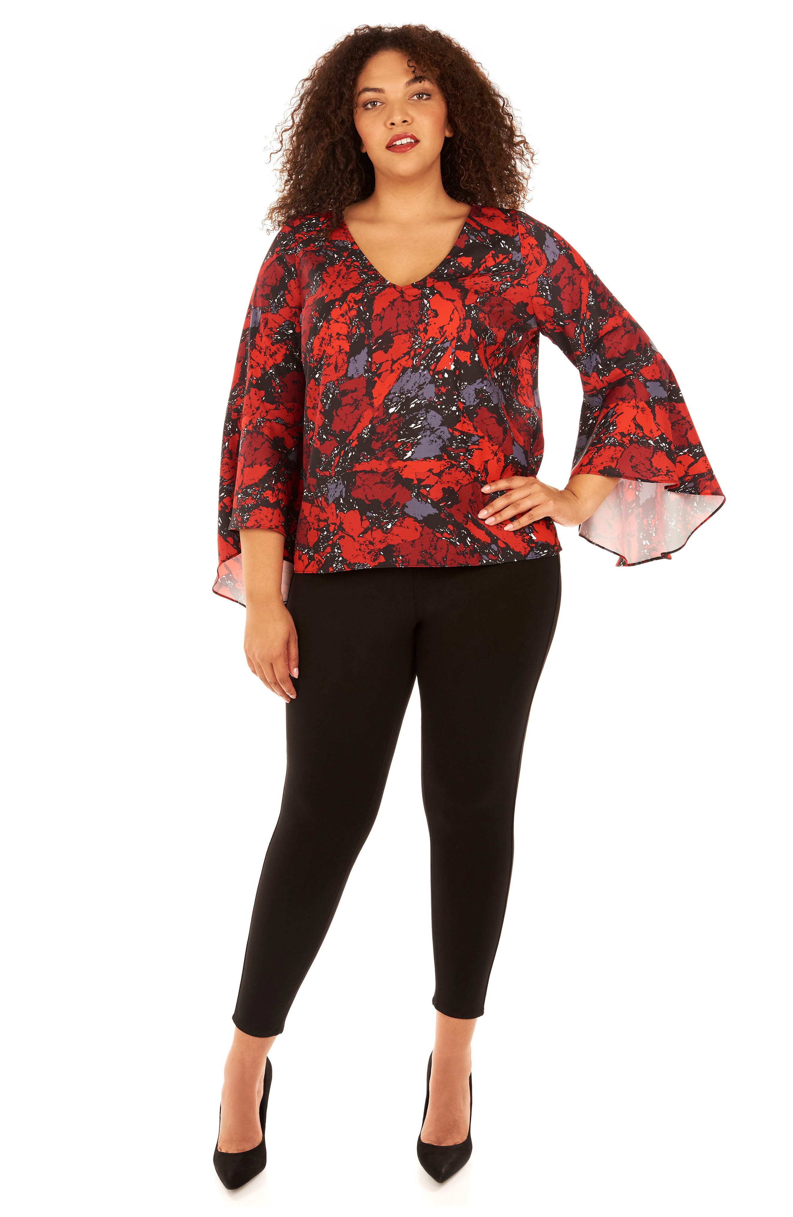 Bell Sleeve Top,                             Alternate thumbnail 4, color,                             Ruby Rock