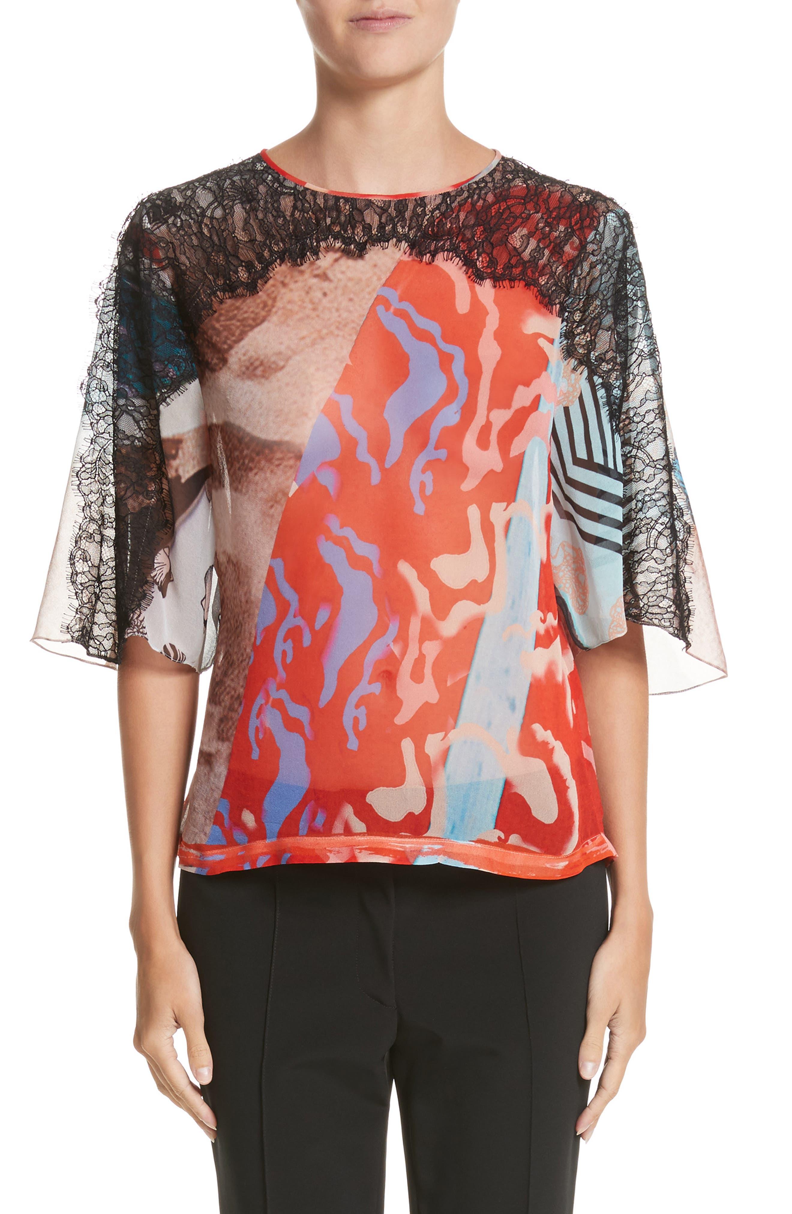 Lace & Print Silk Top,                         Main,                         color, Blush Multi