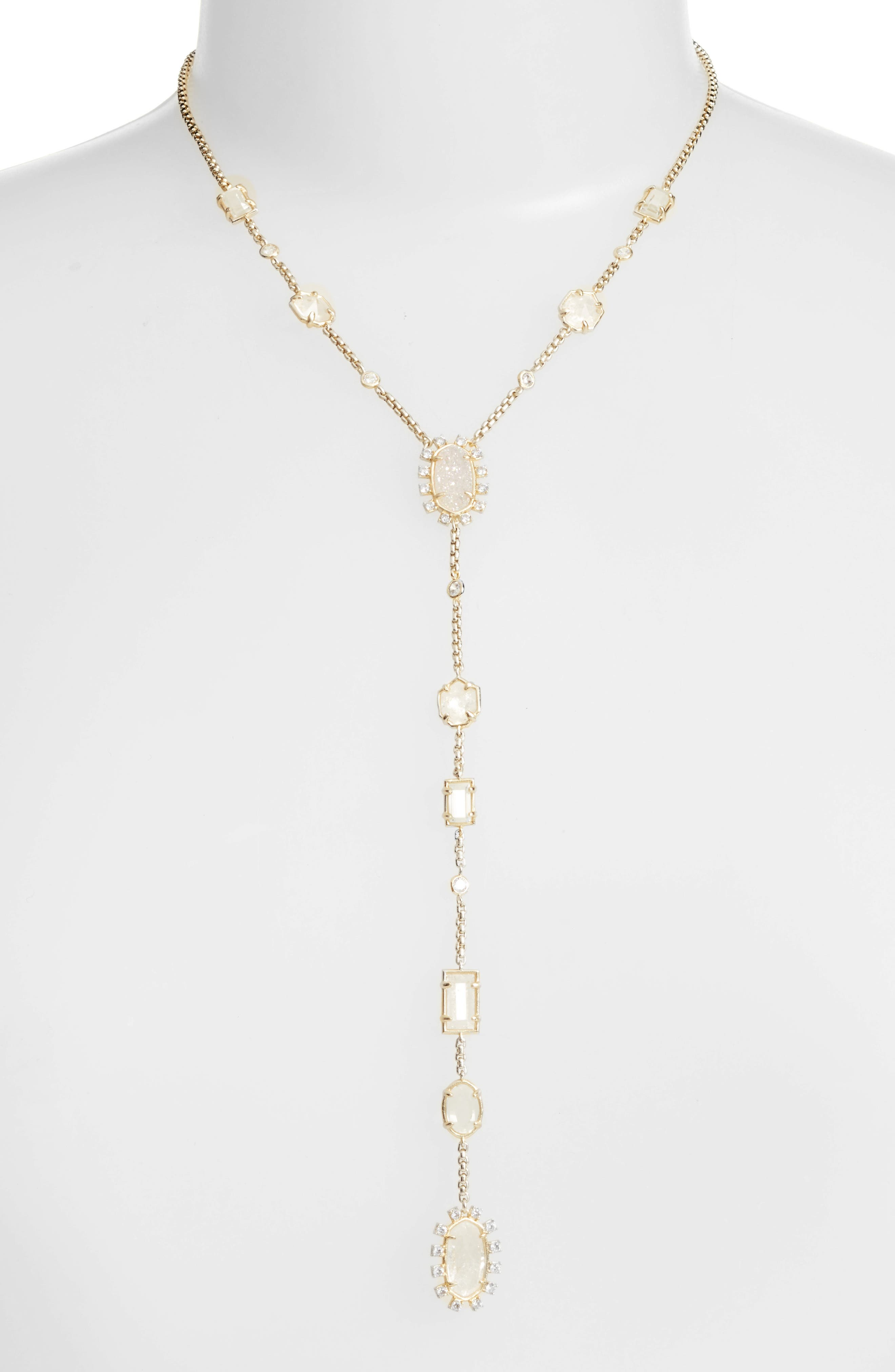 Liesl Y-Necklace,                             Main thumbnail 1, color,                             Rock Crystal/ Gold