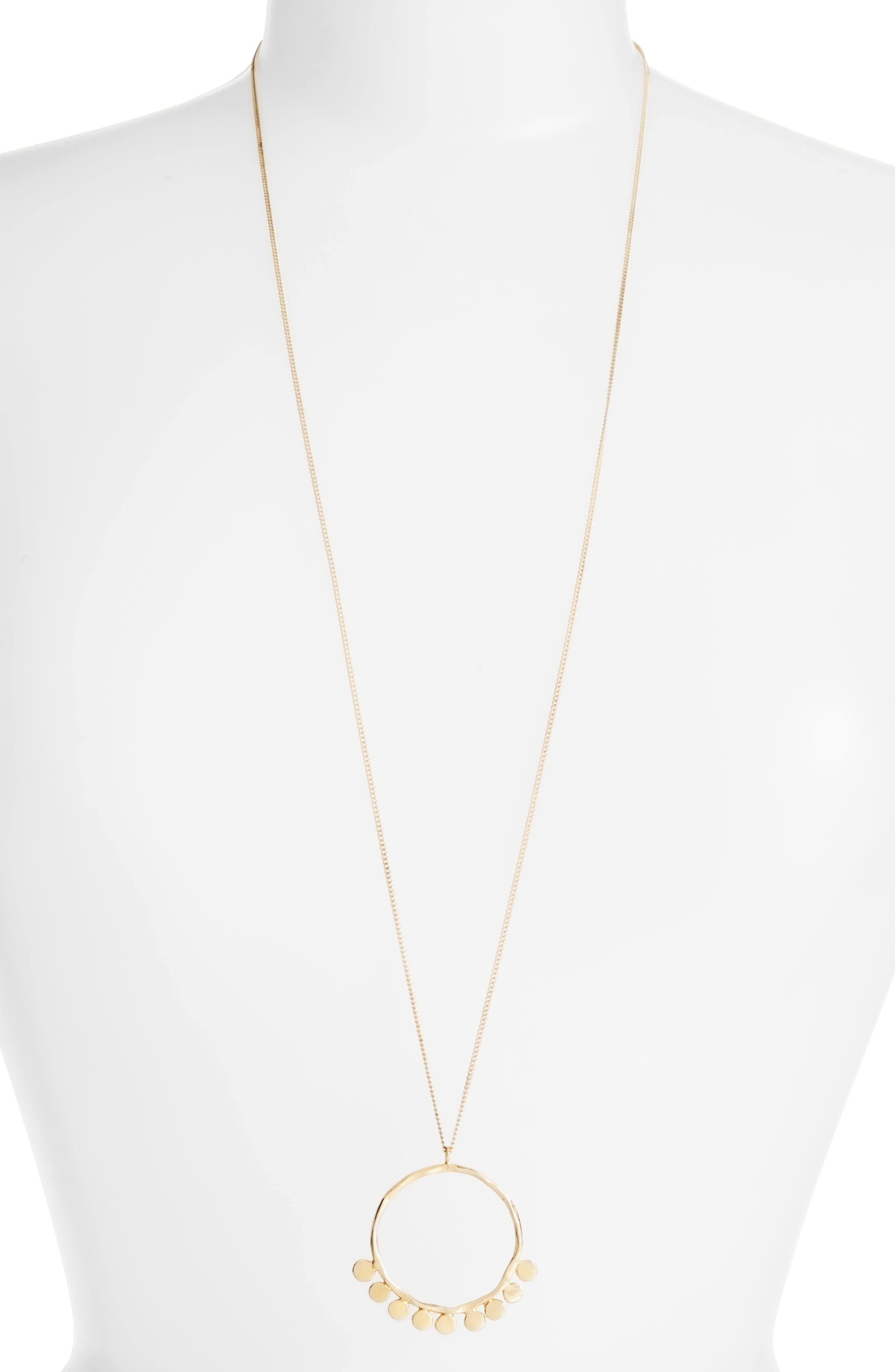 Pebble Pendant Necklace,                         Main,                         color, Gold