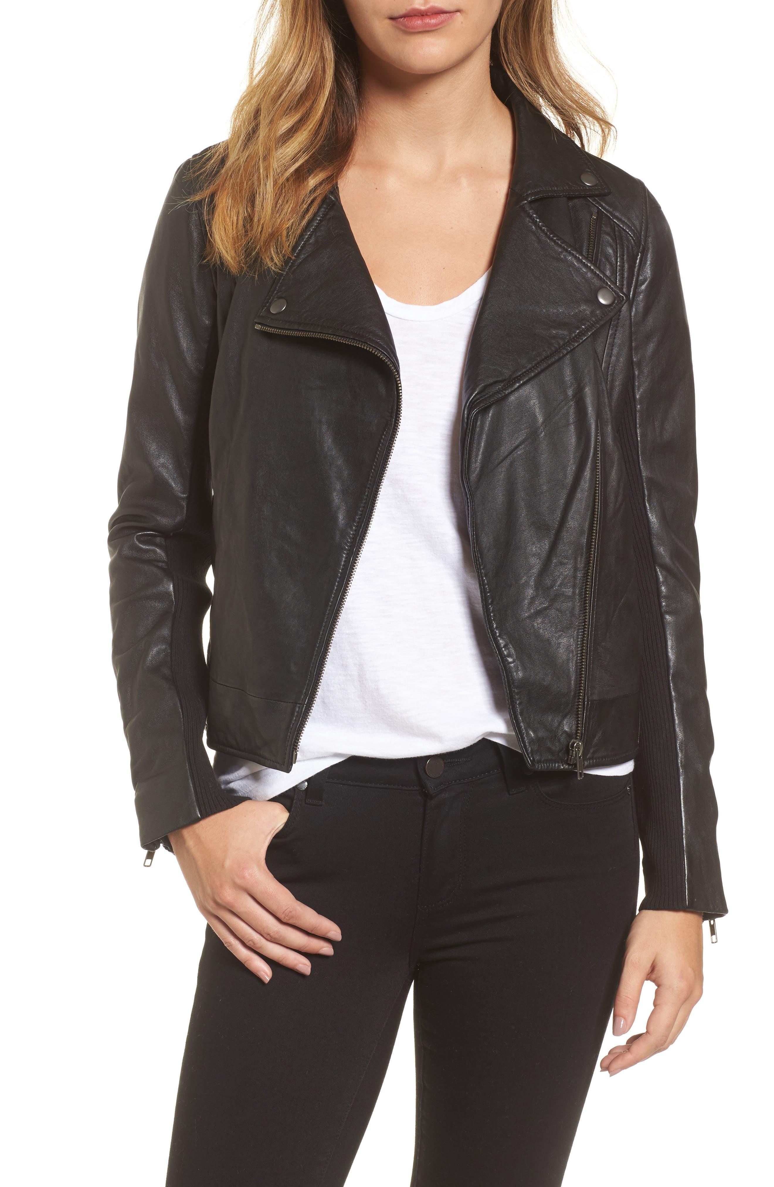 Main Image - Caslon® Leather Moto Jacket (Regular & Petite)