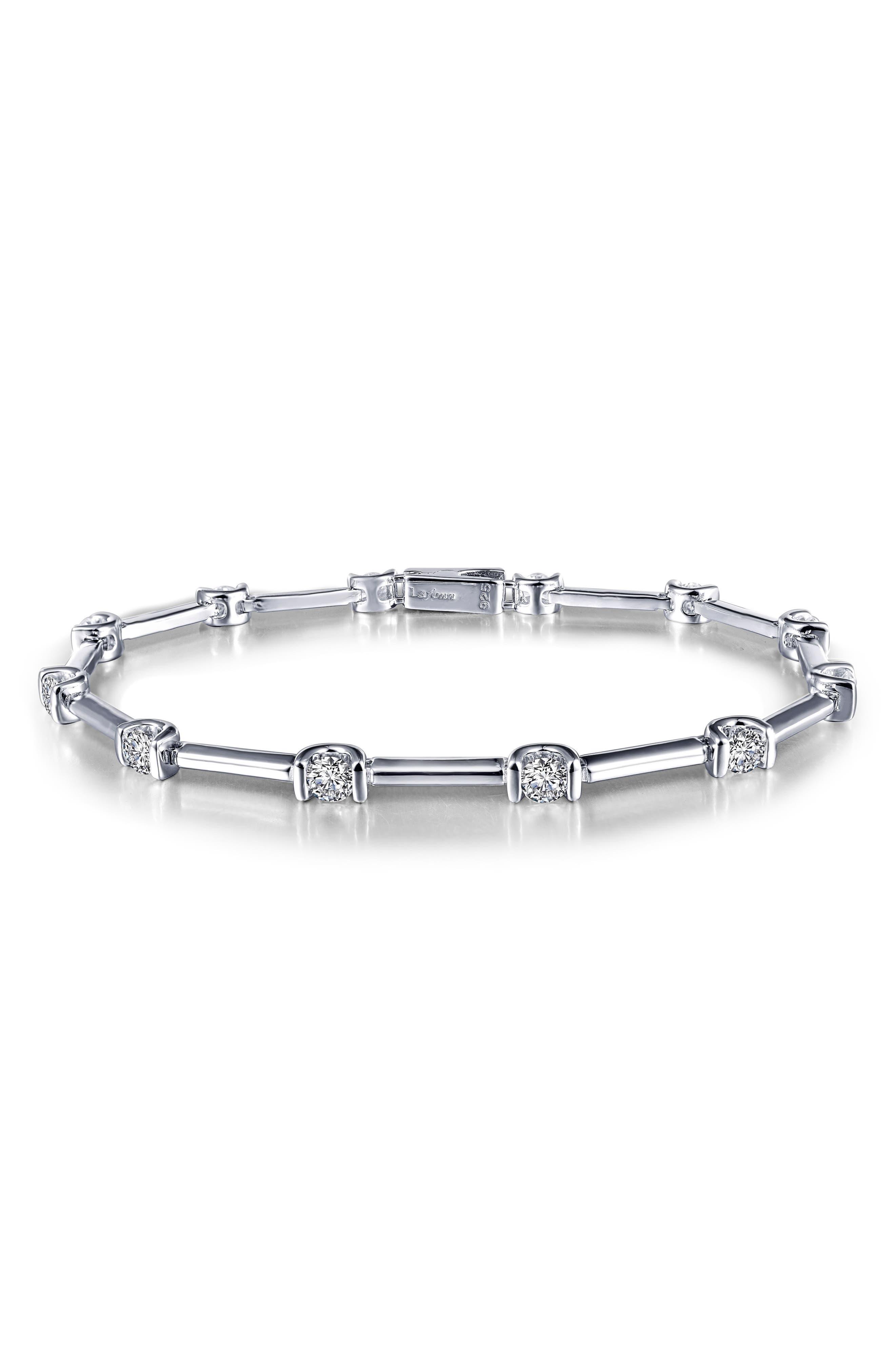 Simulated Diamond Bracelet,                             Alternate thumbnail 2, color,                             Silver/ Clear