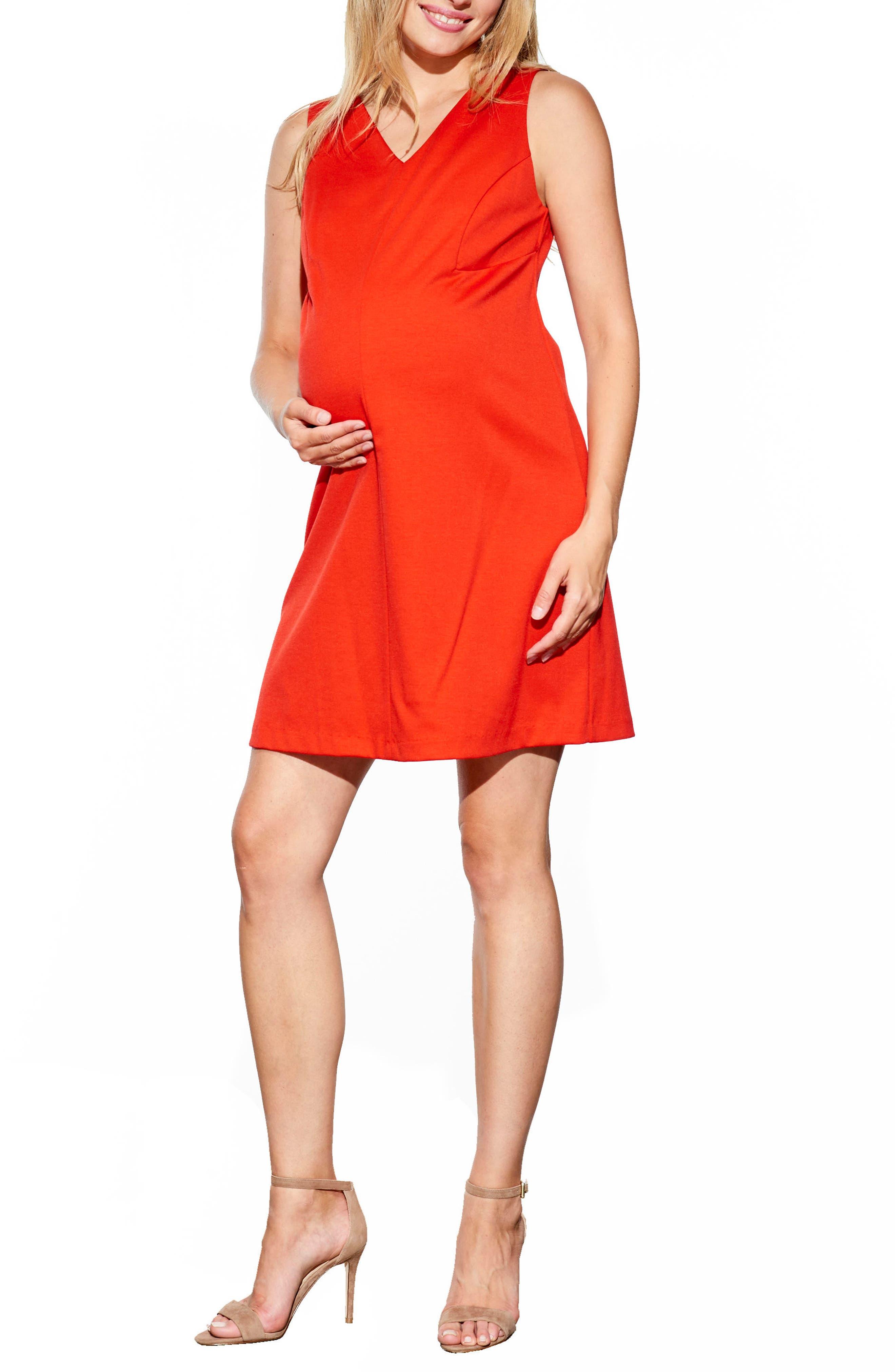 Princess Shift Maternity Dress,                         Main,                         color, Red