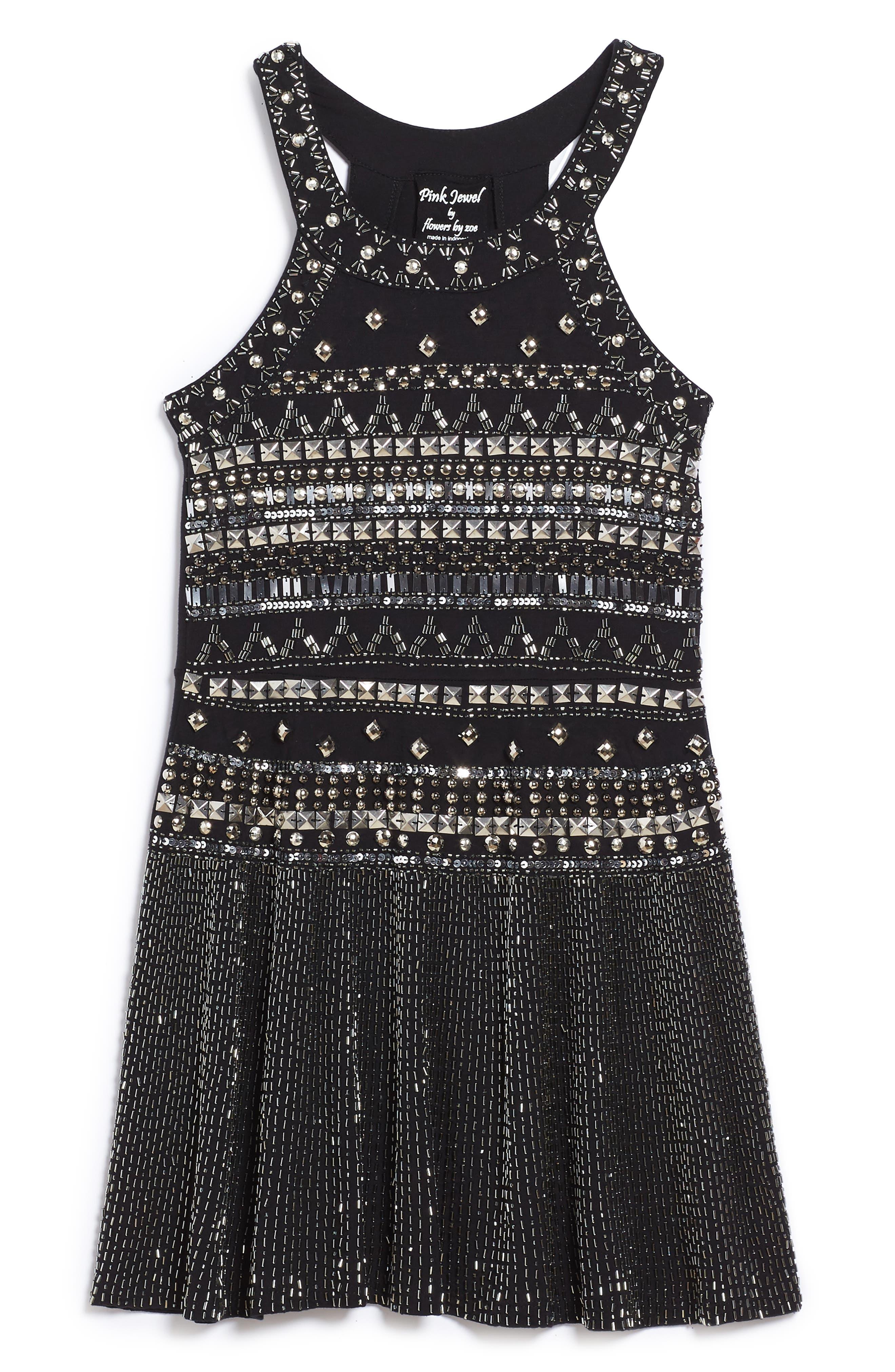 Embellished Halter Skater Dress,                             Main thumbnail 1, color,                             Black