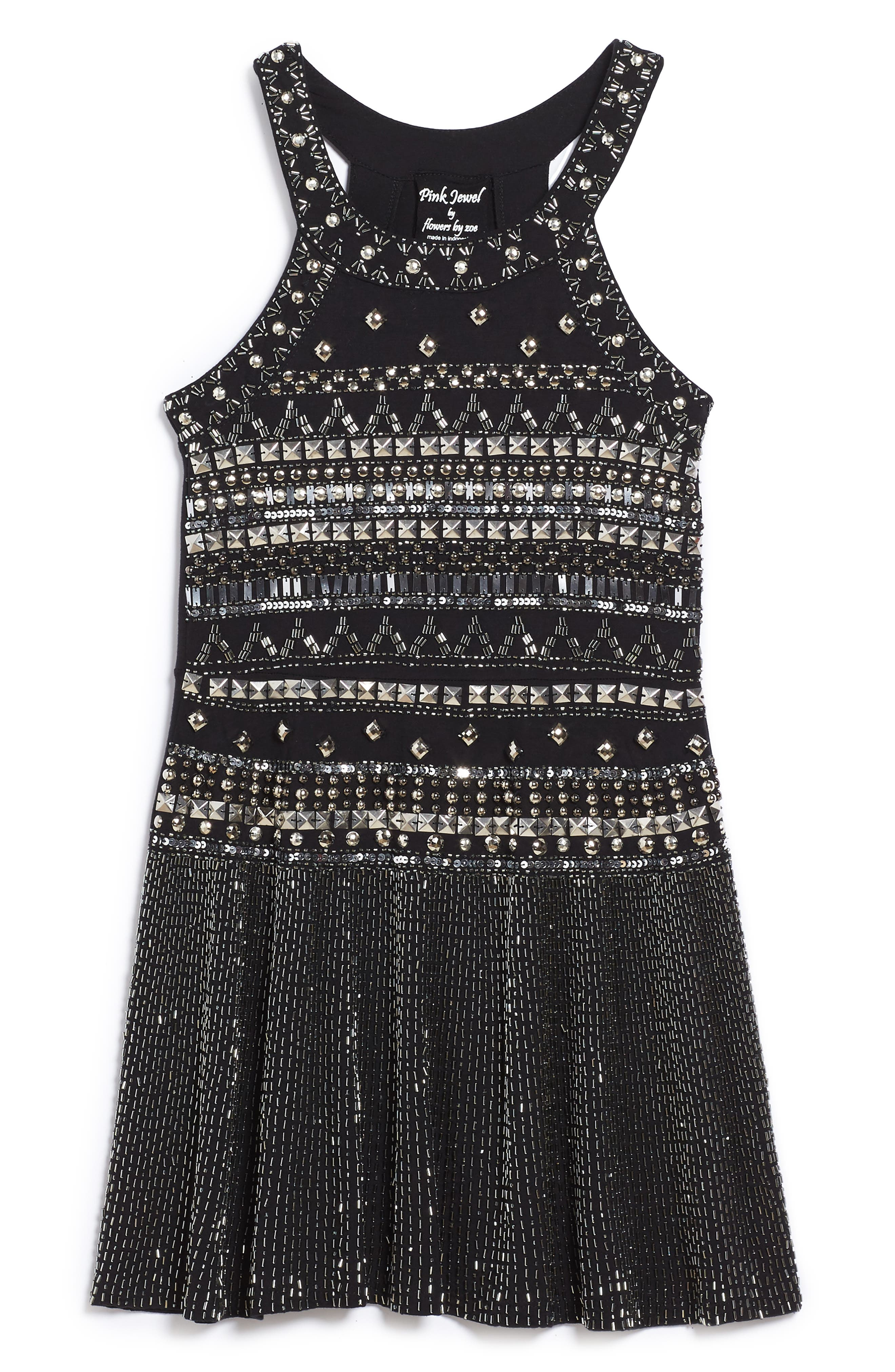 Flowers by Zoe Embellished Halter Skater Dress (Big Girls)