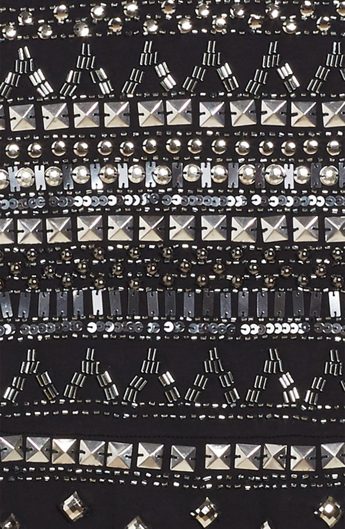 Embellished Halter Skater Dress,                             Alternate thumbnail 3, color,                             Black