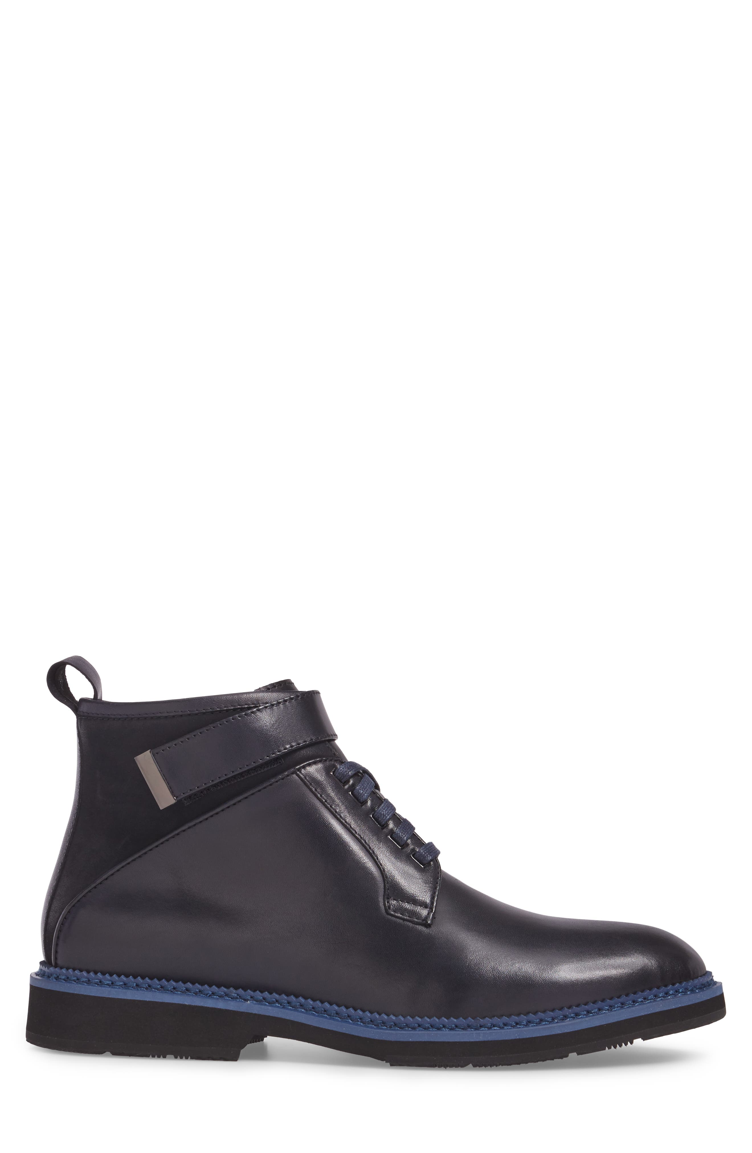 Ginko Plain Toe Boot,                             Alternate thumbnail 3, color,                             Navy Leather