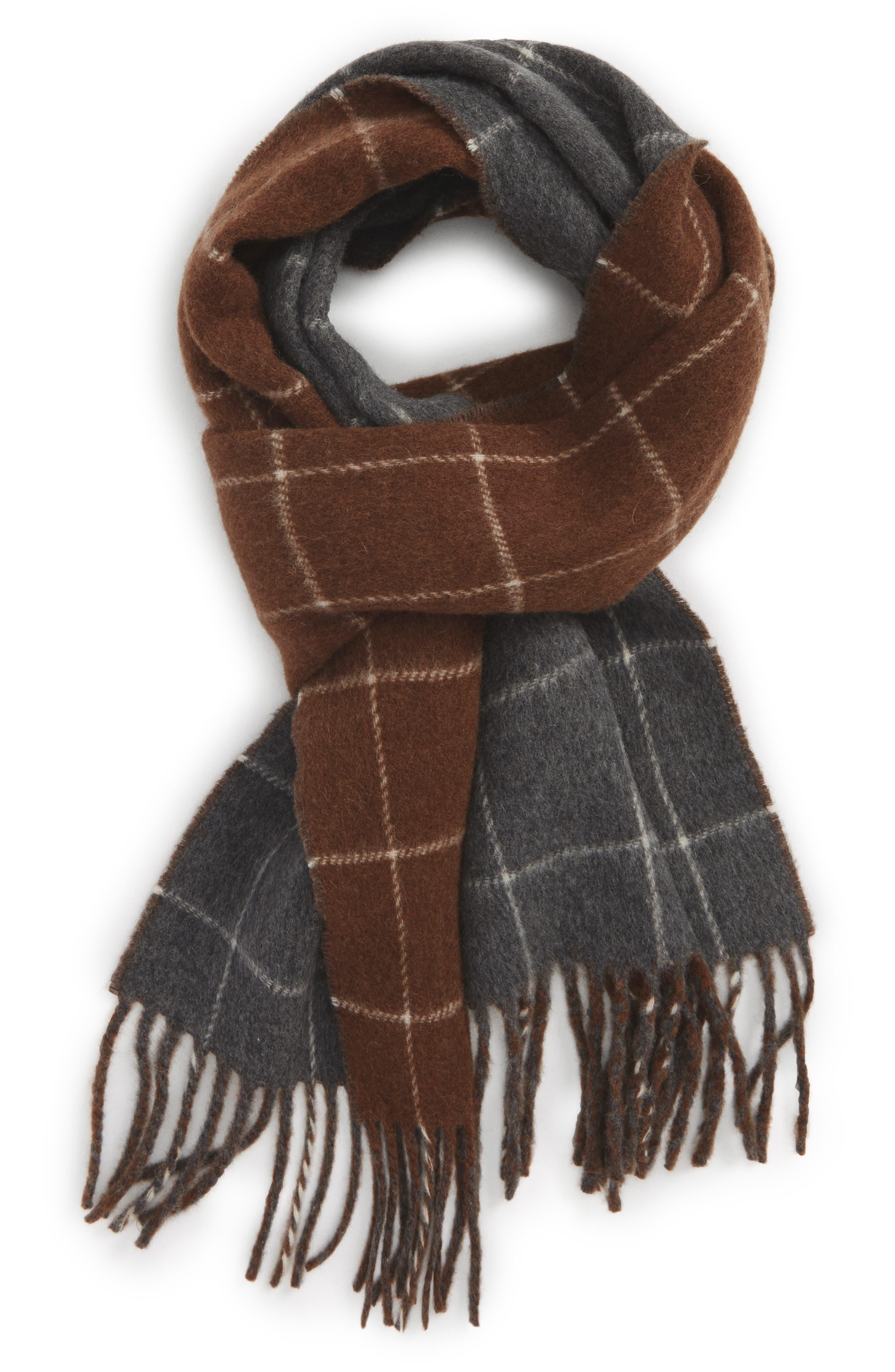 Reversible Wool Blend Plaid Scarf,                         Main,                         color, Dark Granite/ Whiskey