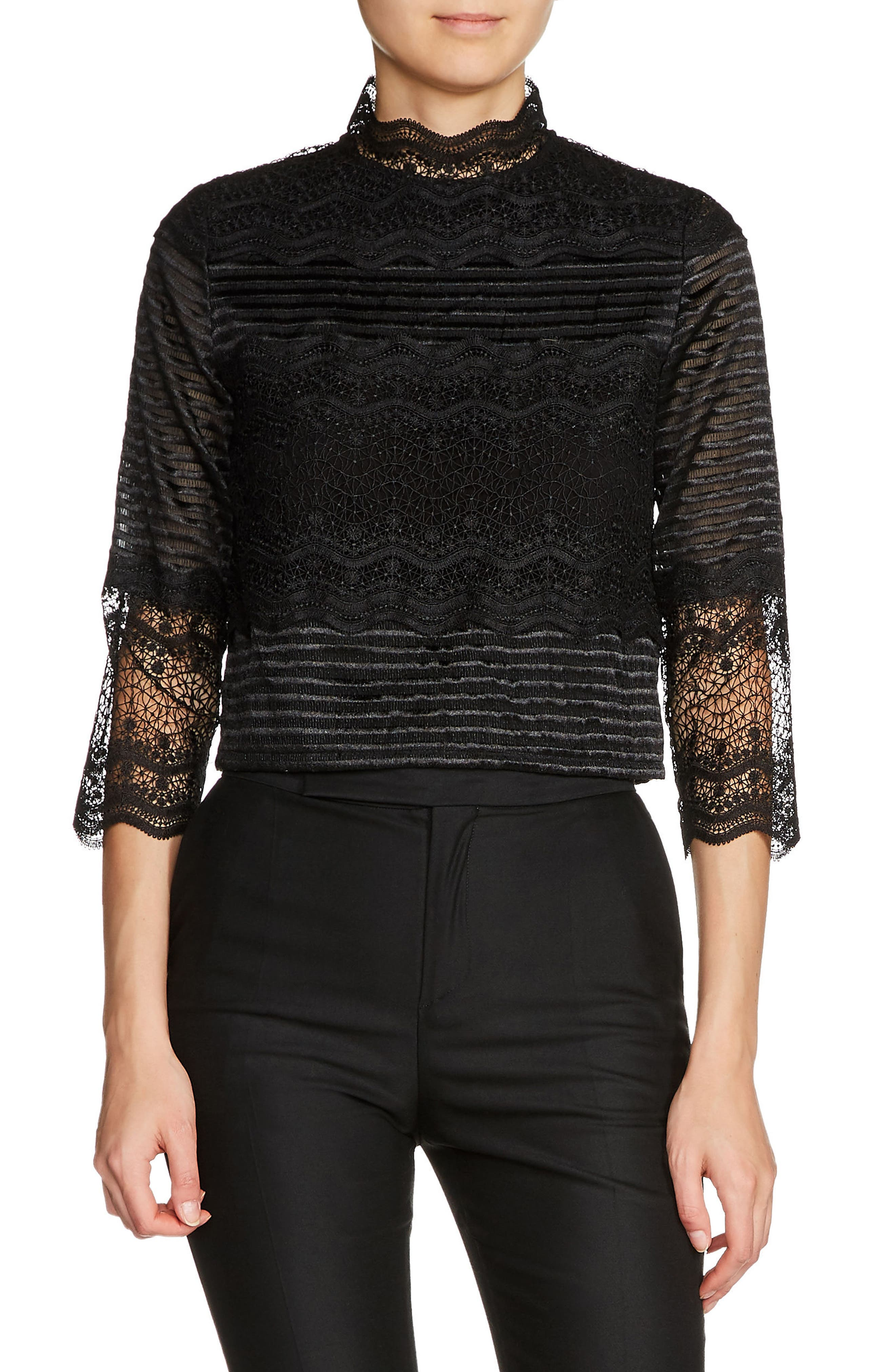 maje Lace & Embroidery Top