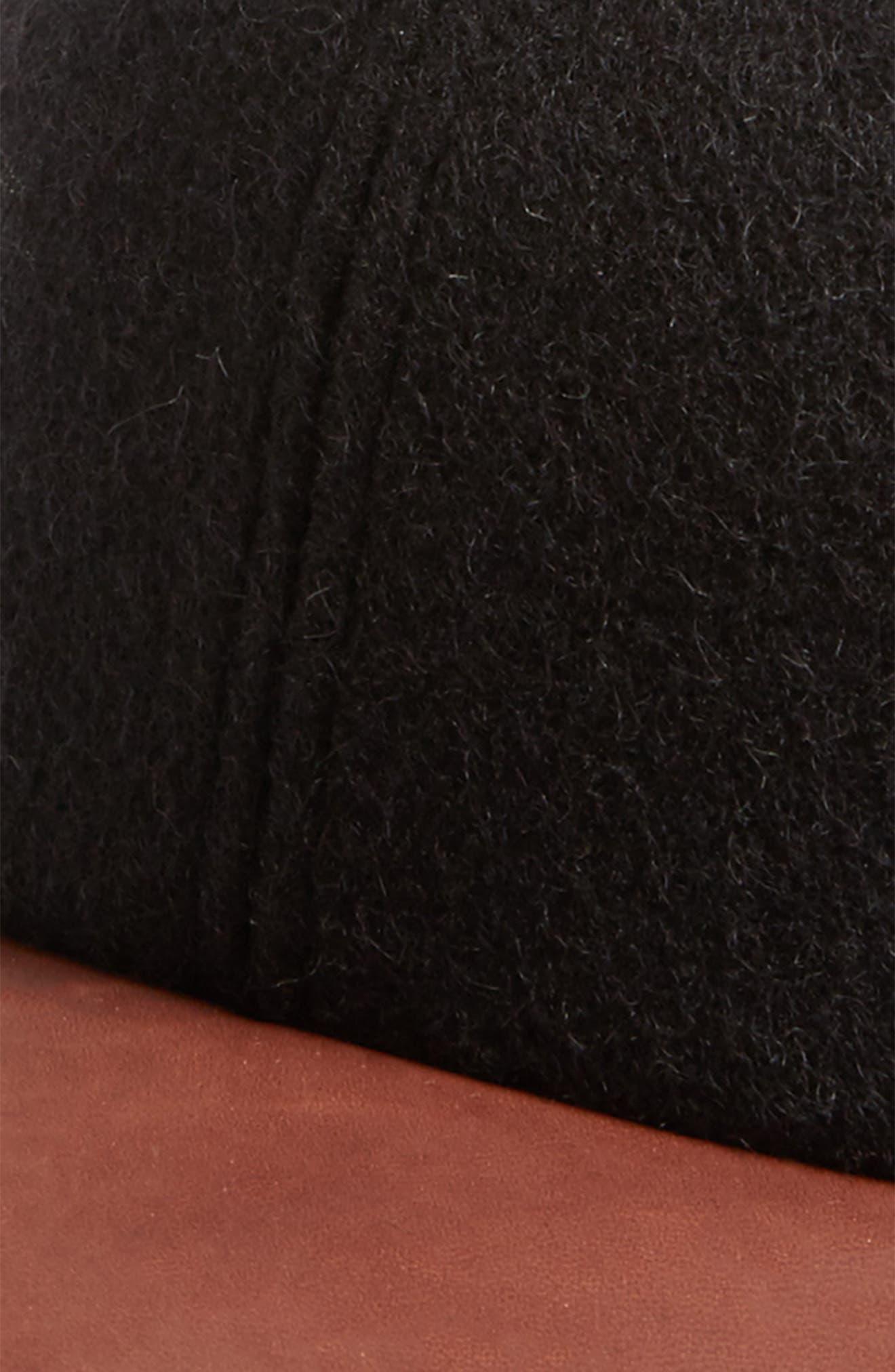 Melton Wool Blend Baseball Cap,                             Alternate thumbnail 3, color,                             Black
