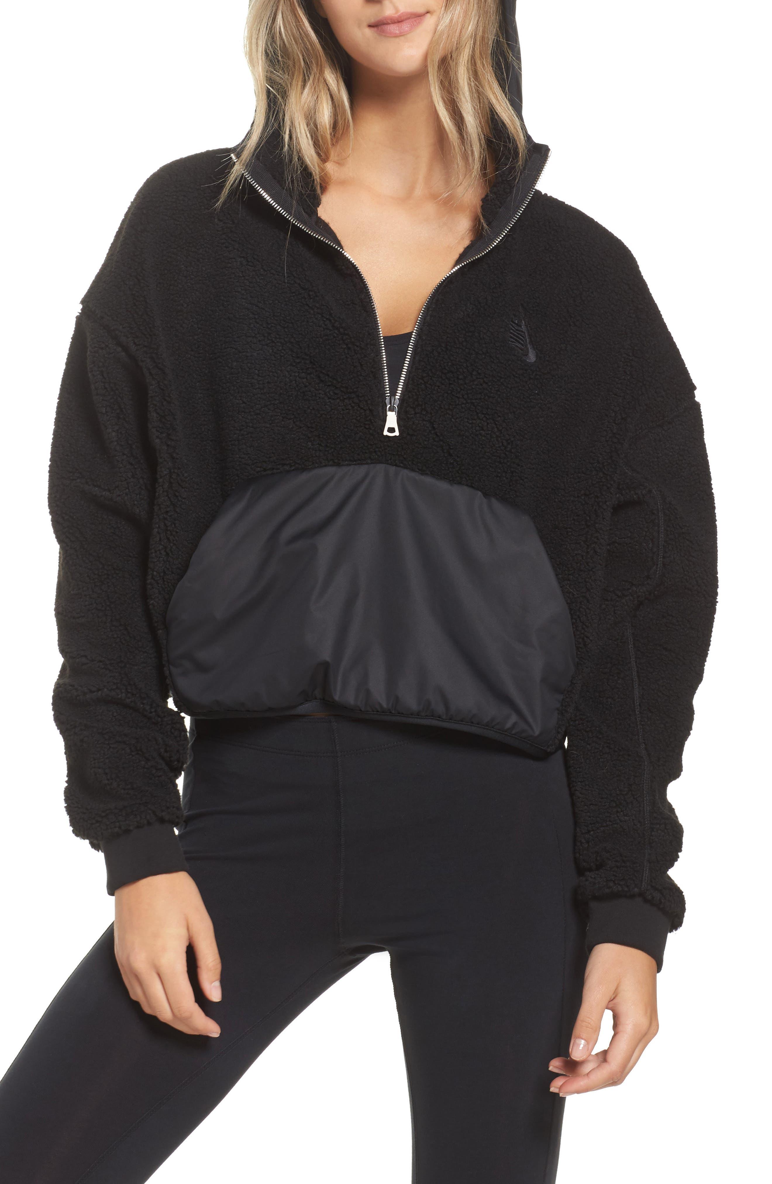 NikeLab Essential Half Zip Fleece Hoodie,                             Main thumbnail 1, color,                             Black/ Black