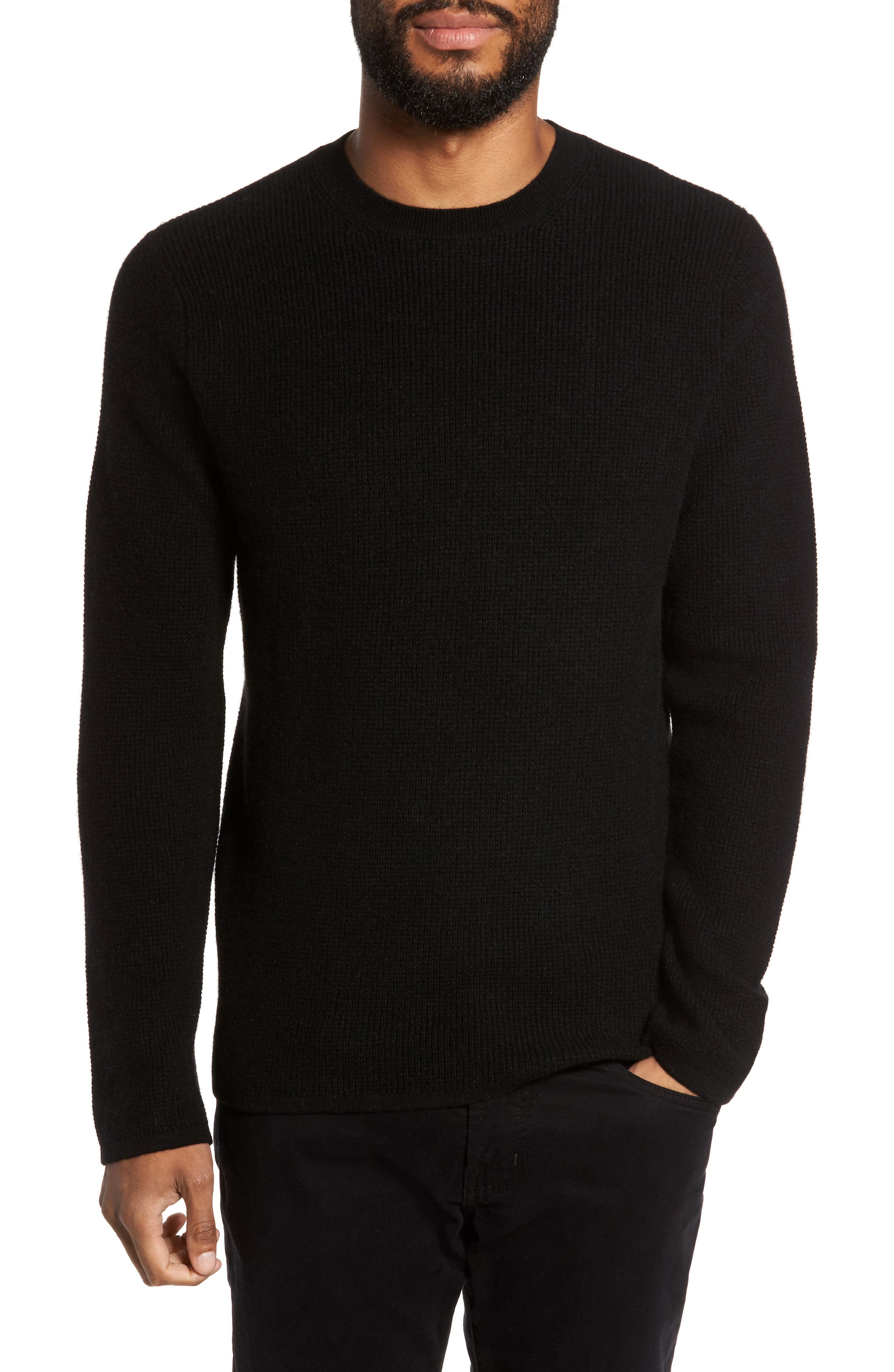 Thermal Wool & Cashmere Sweater,                             Main thumbnail 1, color,                             Black