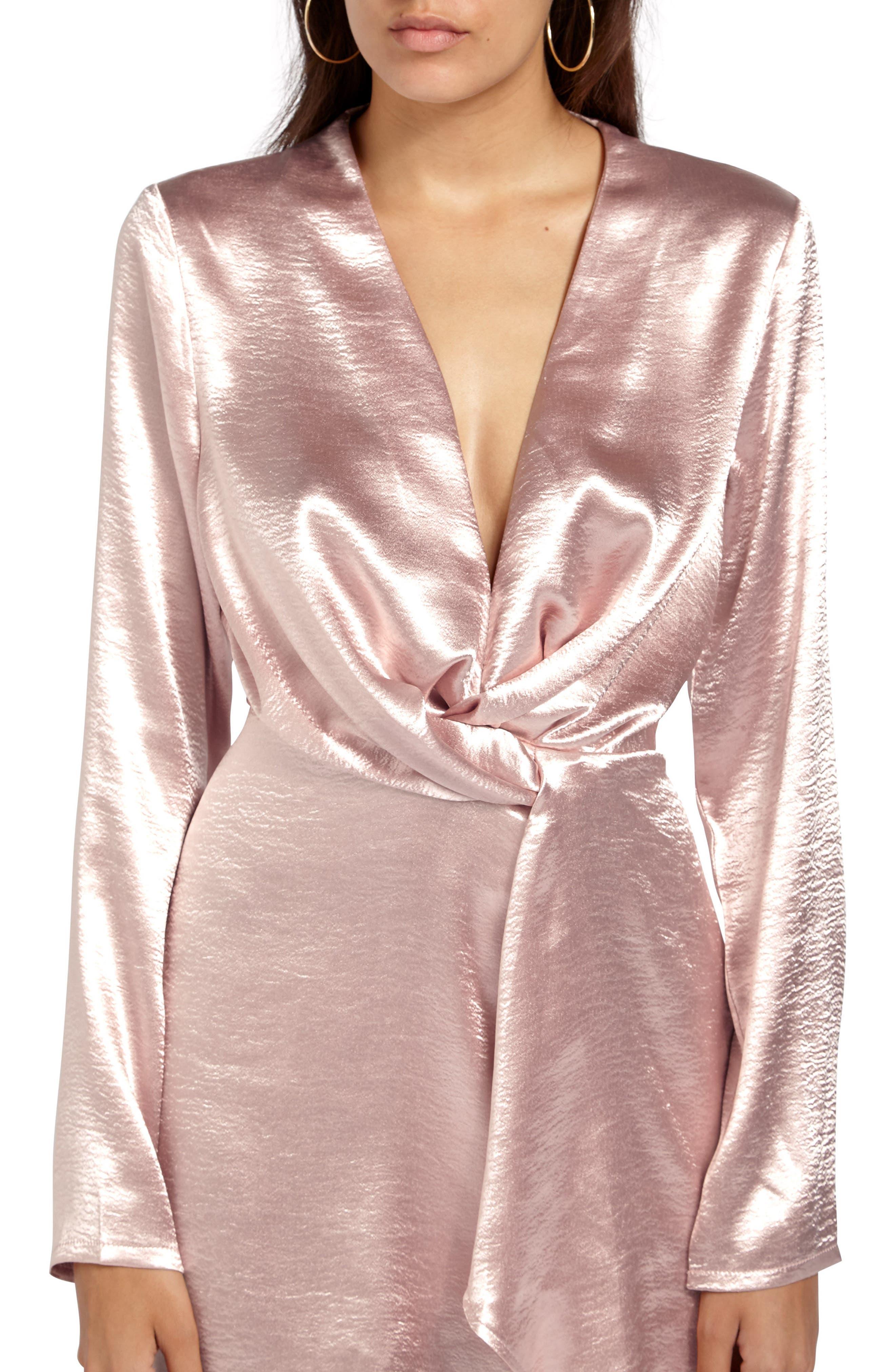 Satin Wrap Minidress,                             Alternate thumbnail 4, color,                             Pink