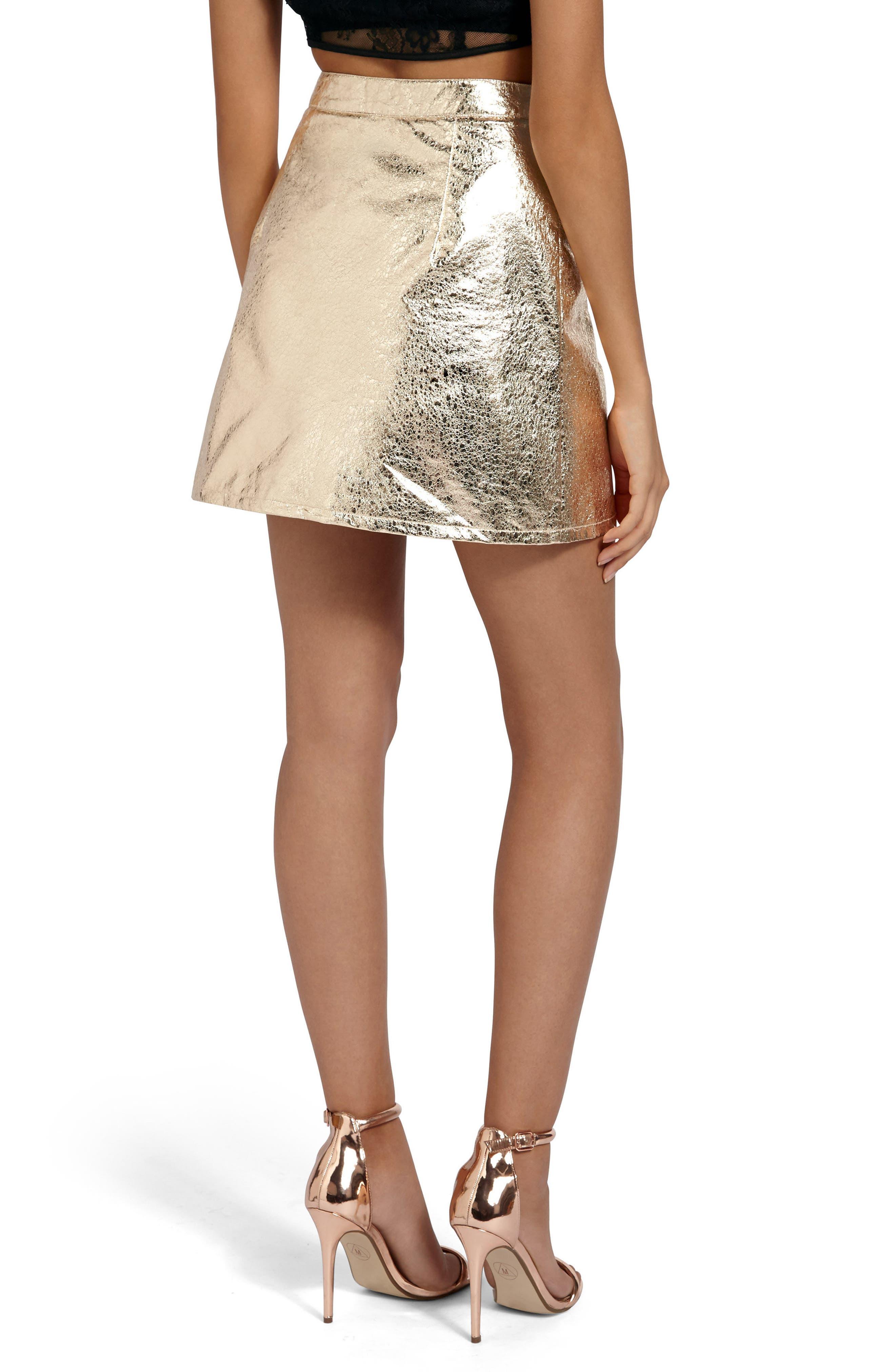 Crackled Metallic Miniskirt,                             Alternate thumbnail 2, color,                             Gold