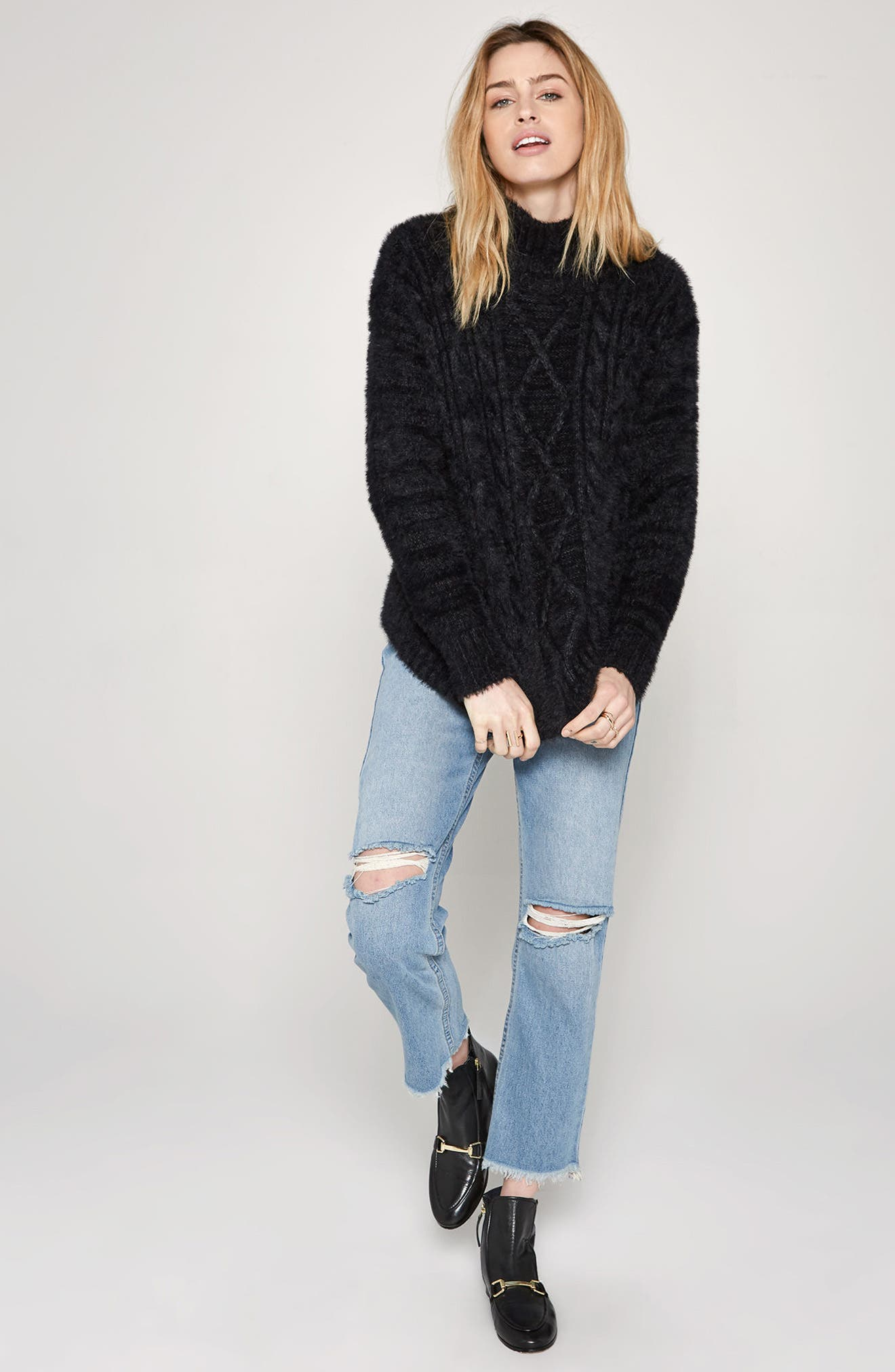 Cool Winds Cable Knit Sweater,                             Alternate thumbnail 2, color,                             Black
