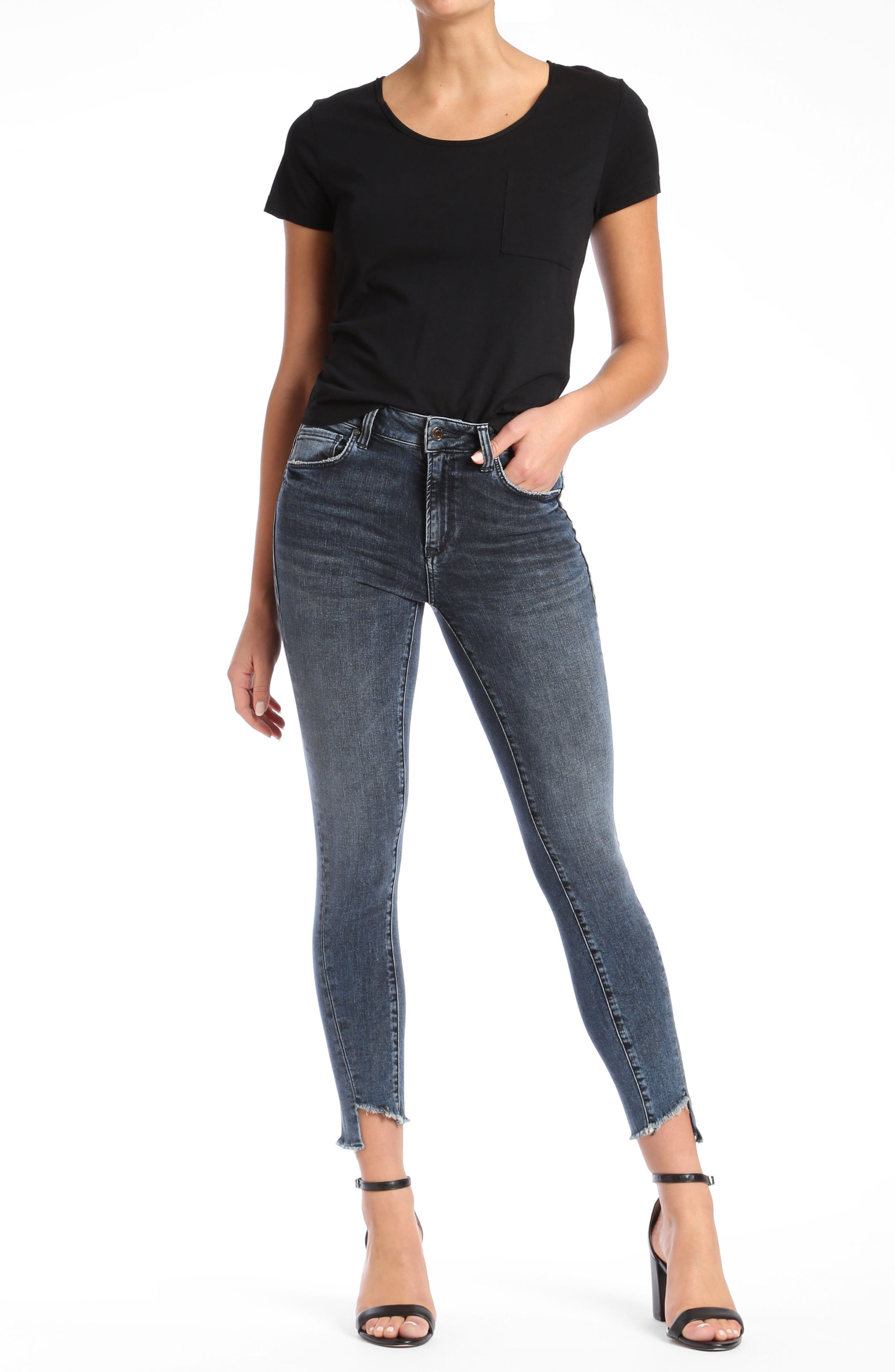 Tess Twisted Step Hem Skinny Jeans,                             Alternate thumbnail 4, color,                             Twisted Dark Ink