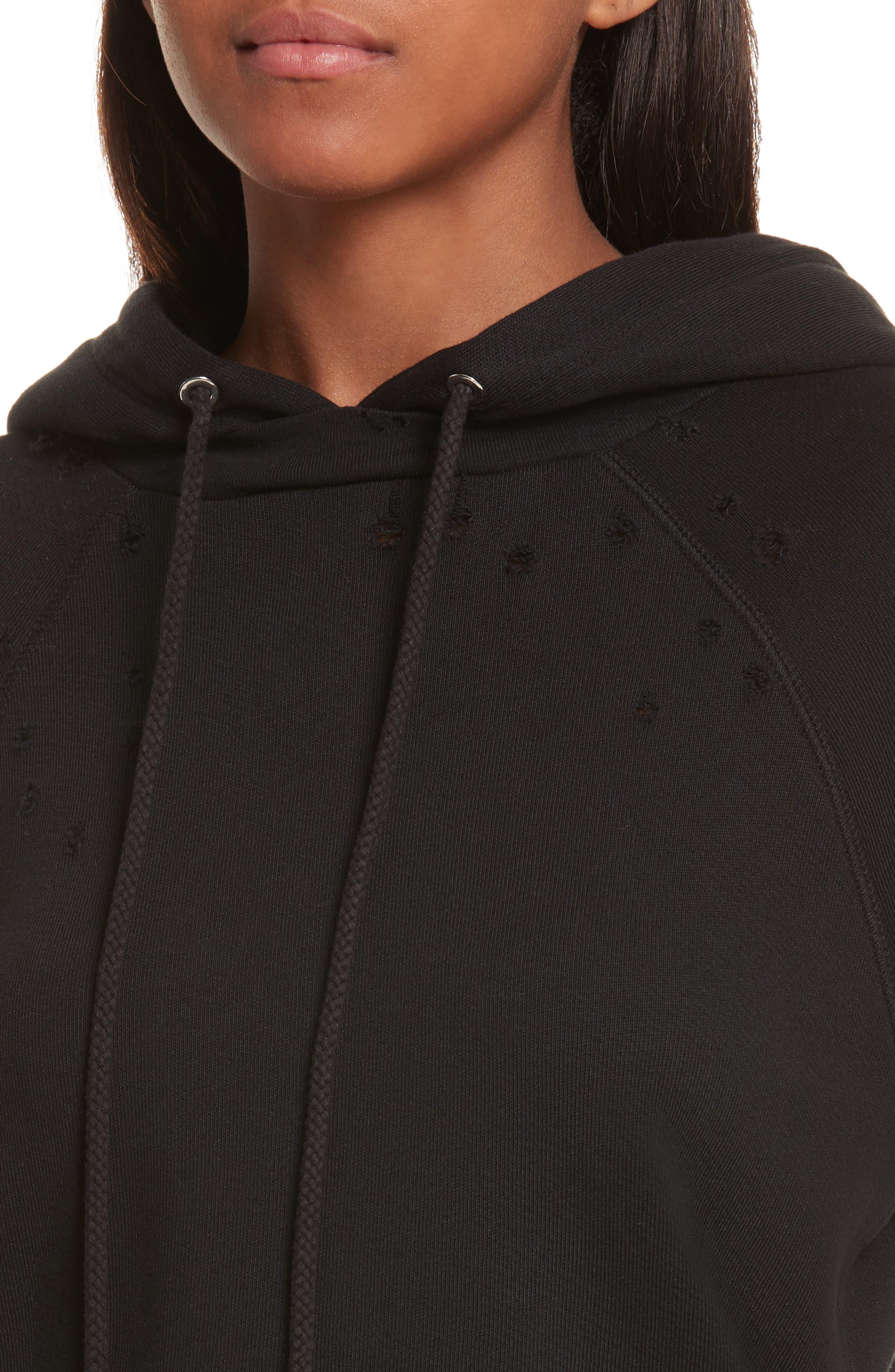 Shrunken Cotton Sweatshirt,                             Alternate thumbnail 4, color,                             Black