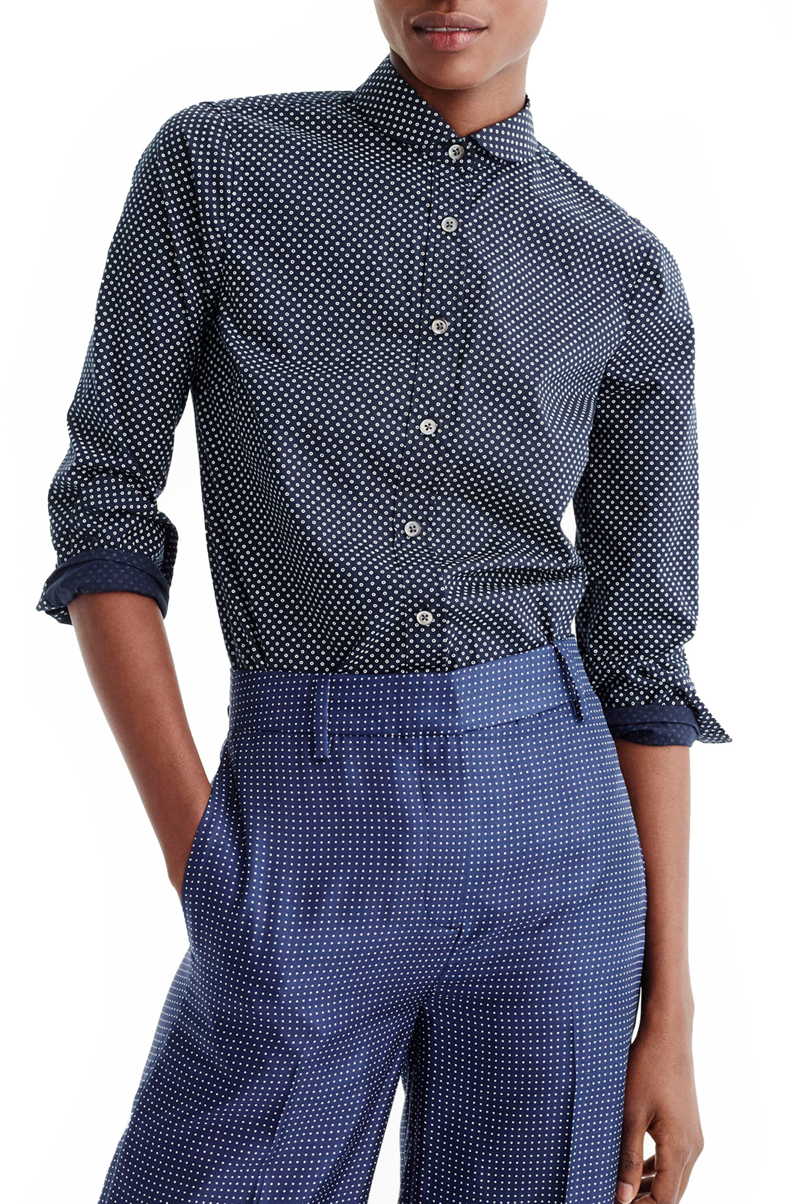 Main Image - J.Crew Polka Dot Button-Up Shirt (Regular & Petite)