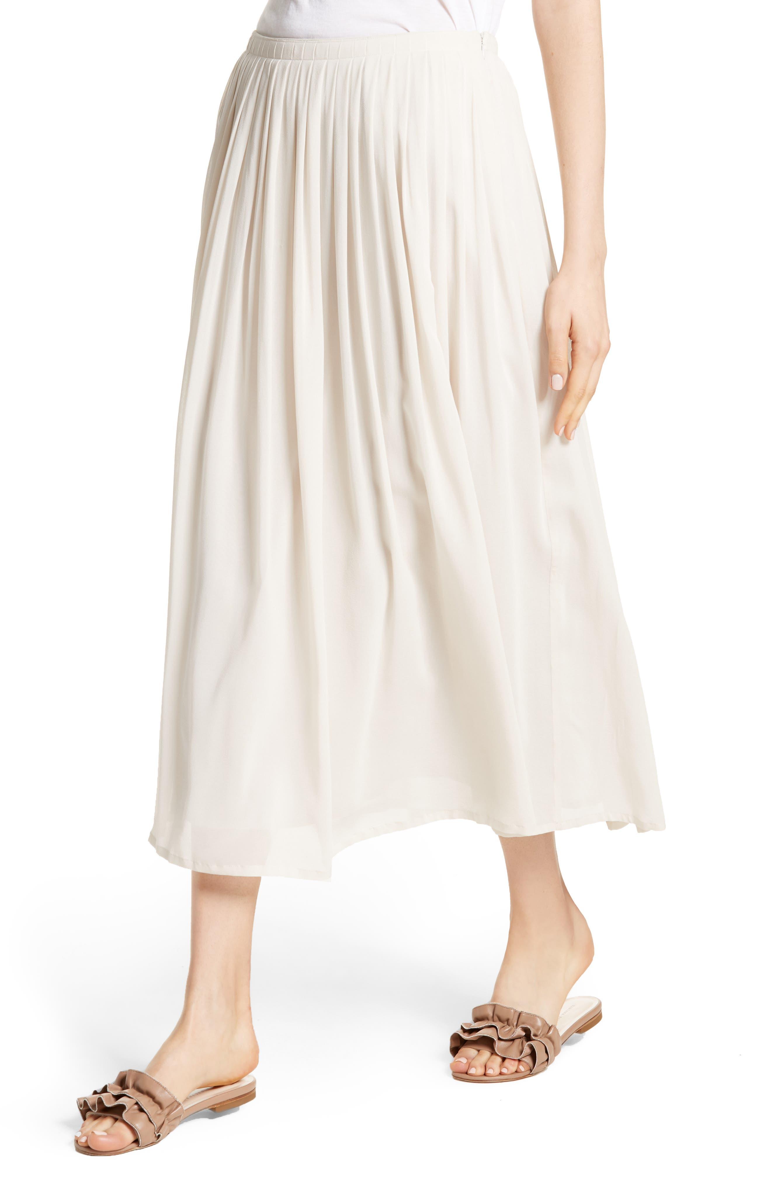 Pleated Chiffon Midi Skirt,                             Alternate thumbnail 4, color,                             Ecru