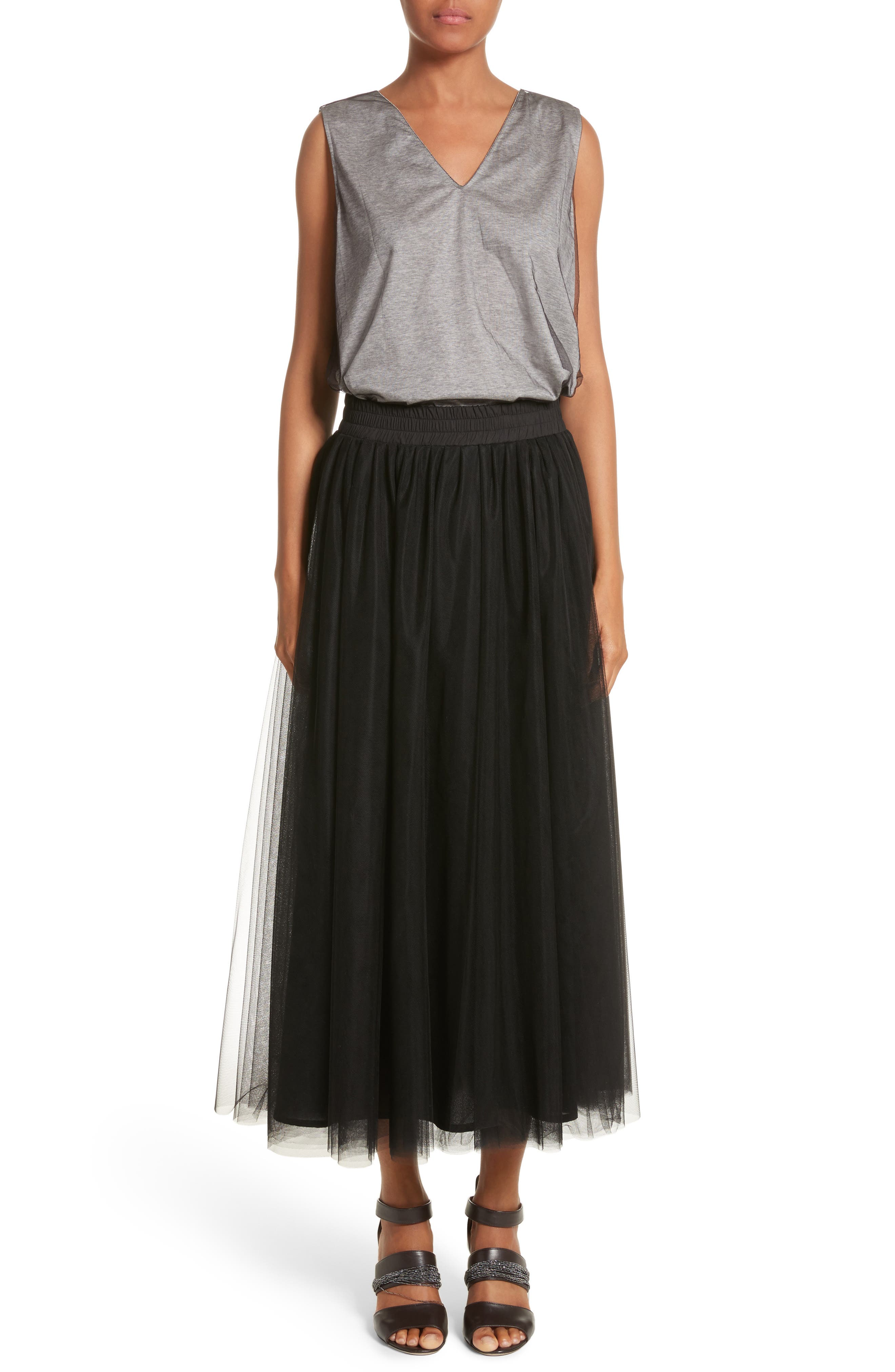 Tulle Overlay Jersey Tank,                             Alternate thumbnail 7, color,                             Grey