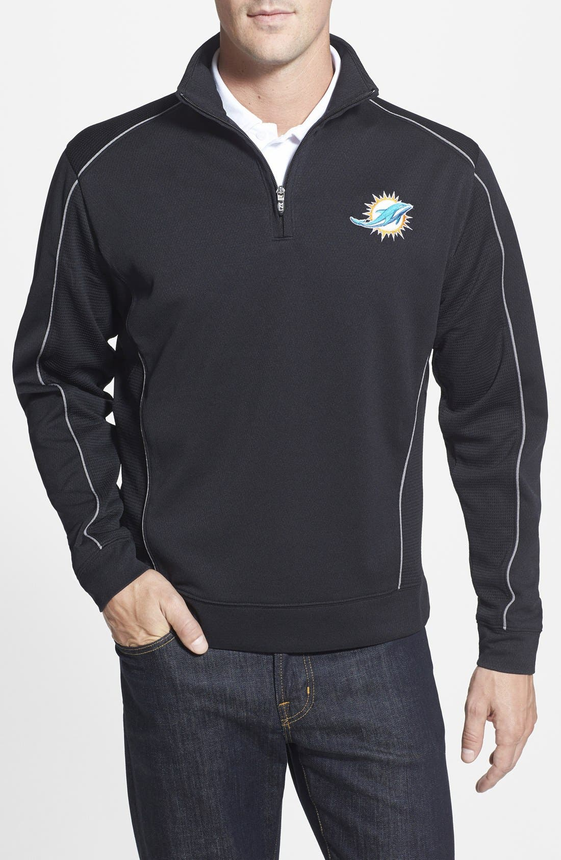 Miami Dolphins - Edge DryTec Moisture Wicking Half Zip Pullover,                         Main,                         color, Black