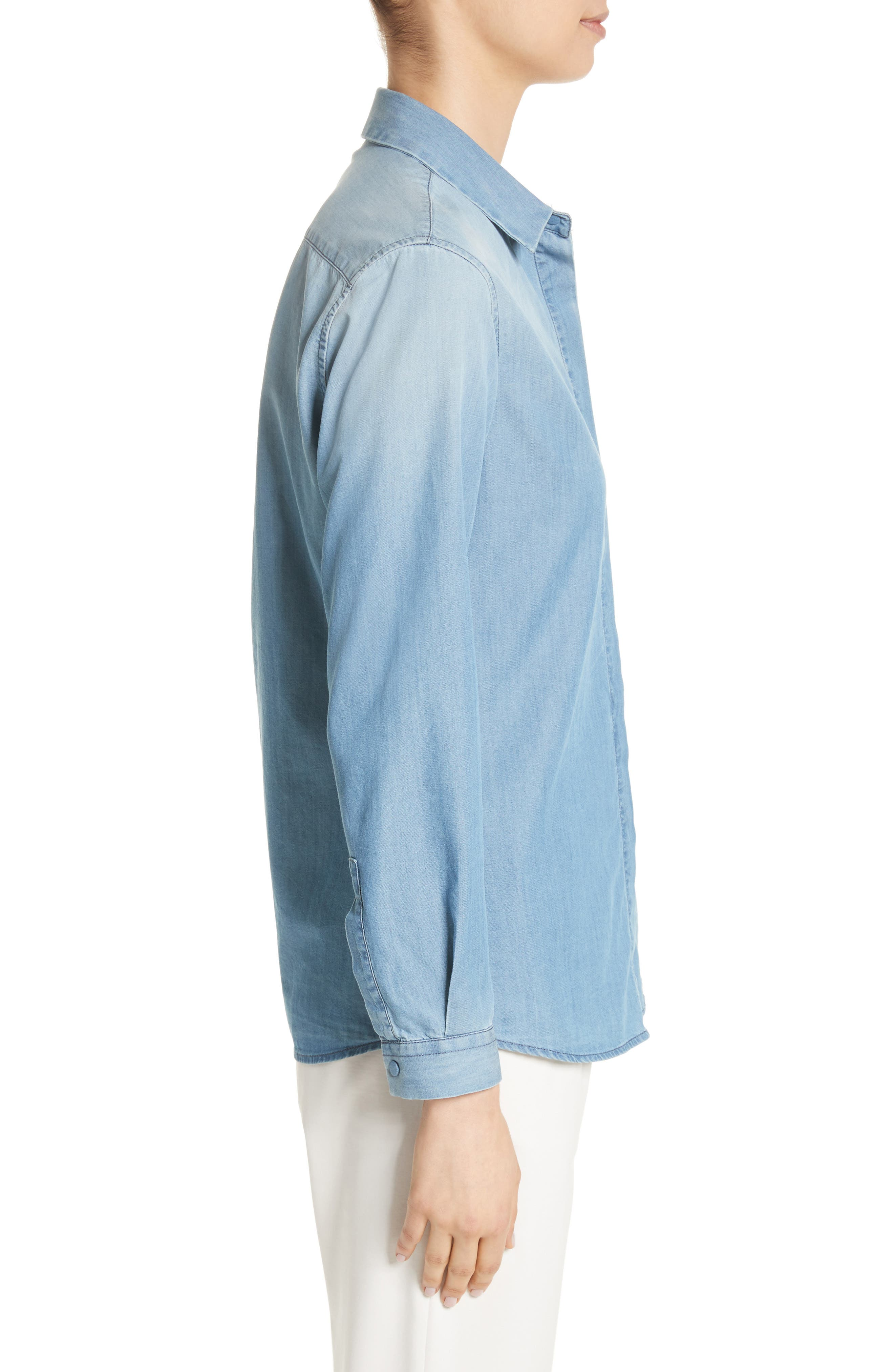 Cotton & Cashmere Chambray Blouse,                             Alternate thumbnail 3, color,                             Denim Blue